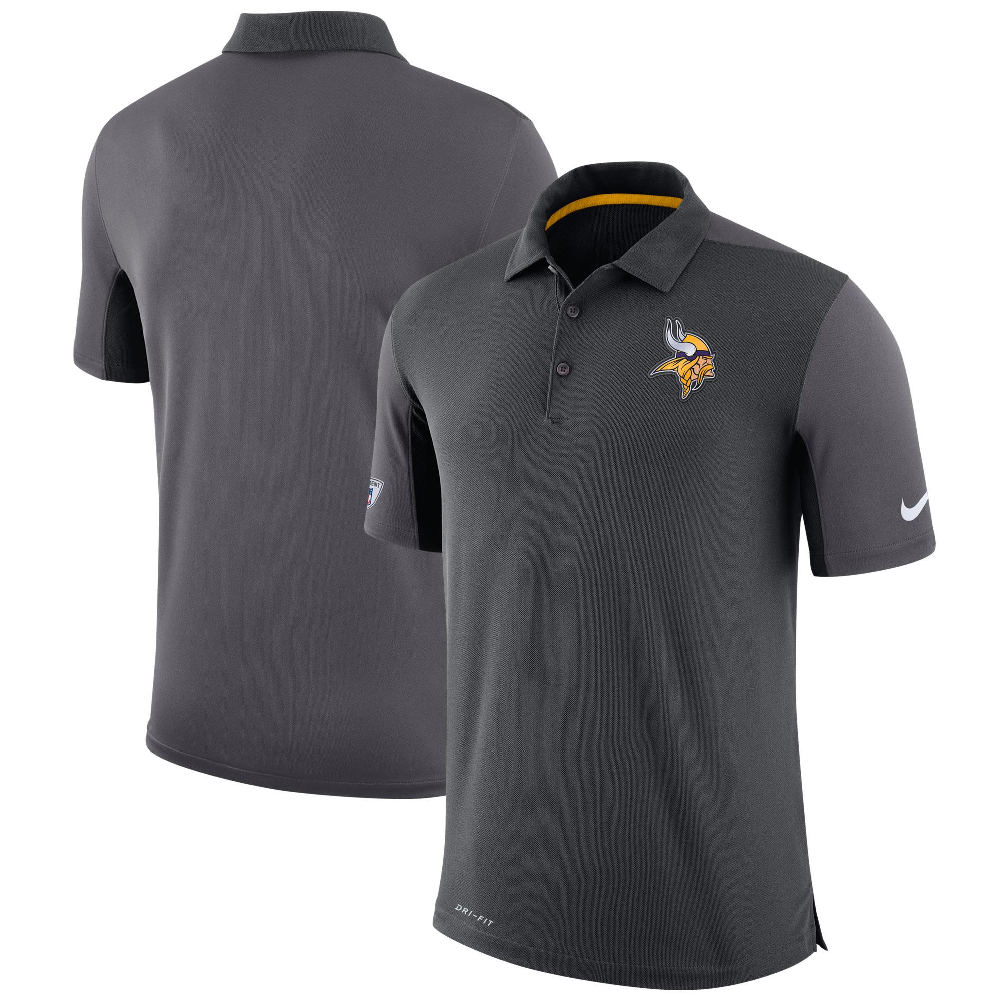 Minnesota Vikings Nike Sideline Team Issue Logo Performance Polo - Charcoal