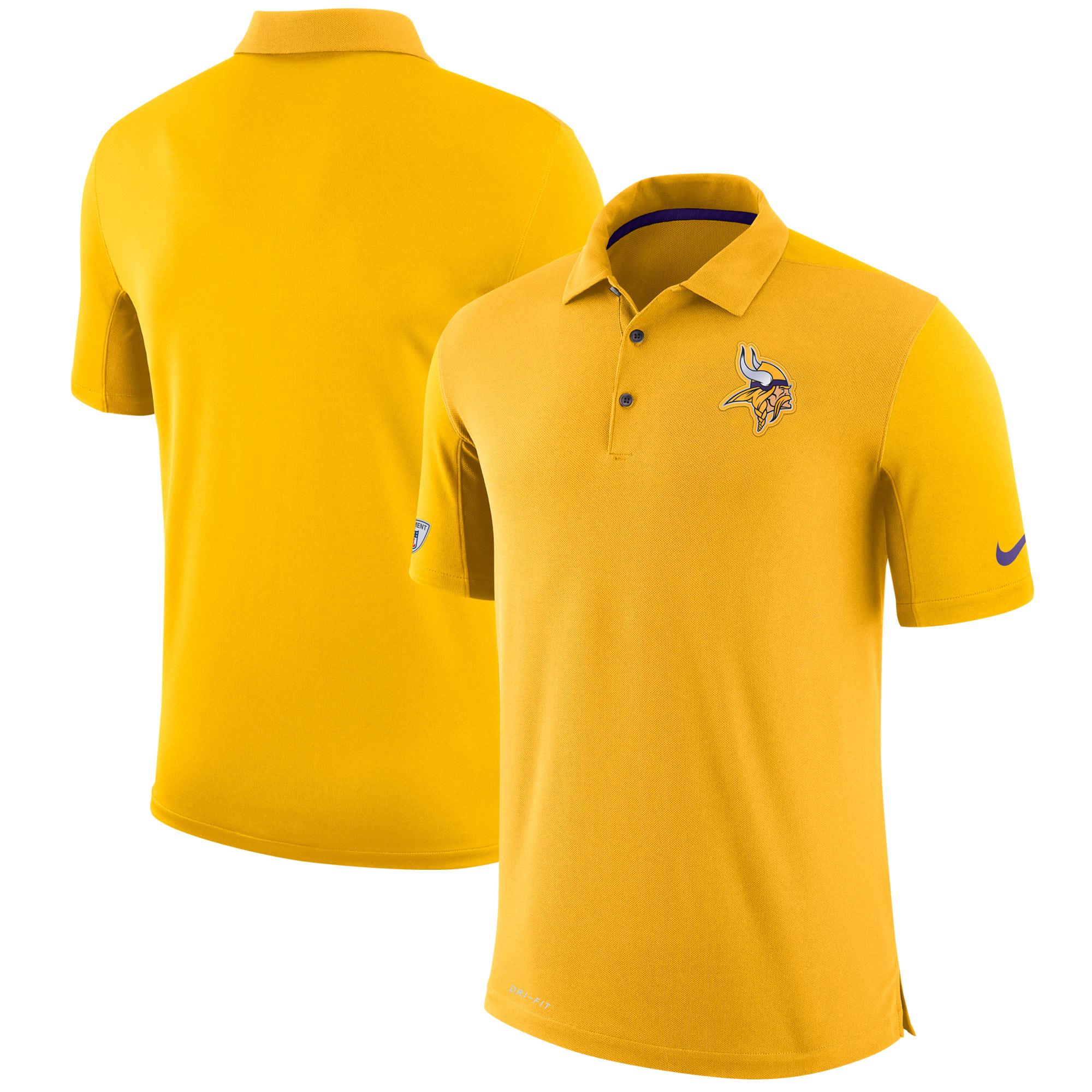 Minnesota Vikings Nike Sideline Team Issue Logo Performance Polo - Gold