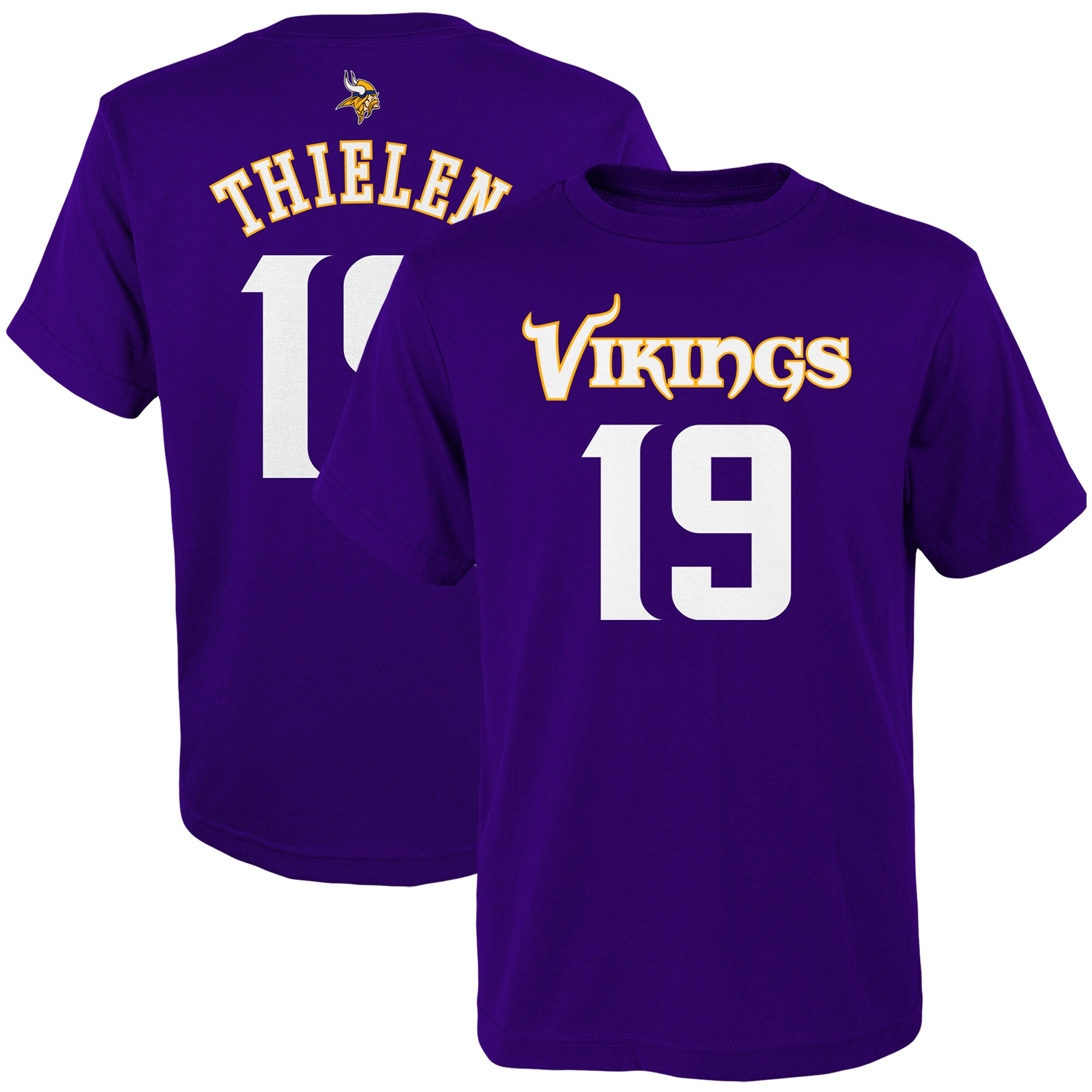 Adam Thielen Minnesota Vikings Youth Mainliner Player Name & Number T-Shirt - Purple