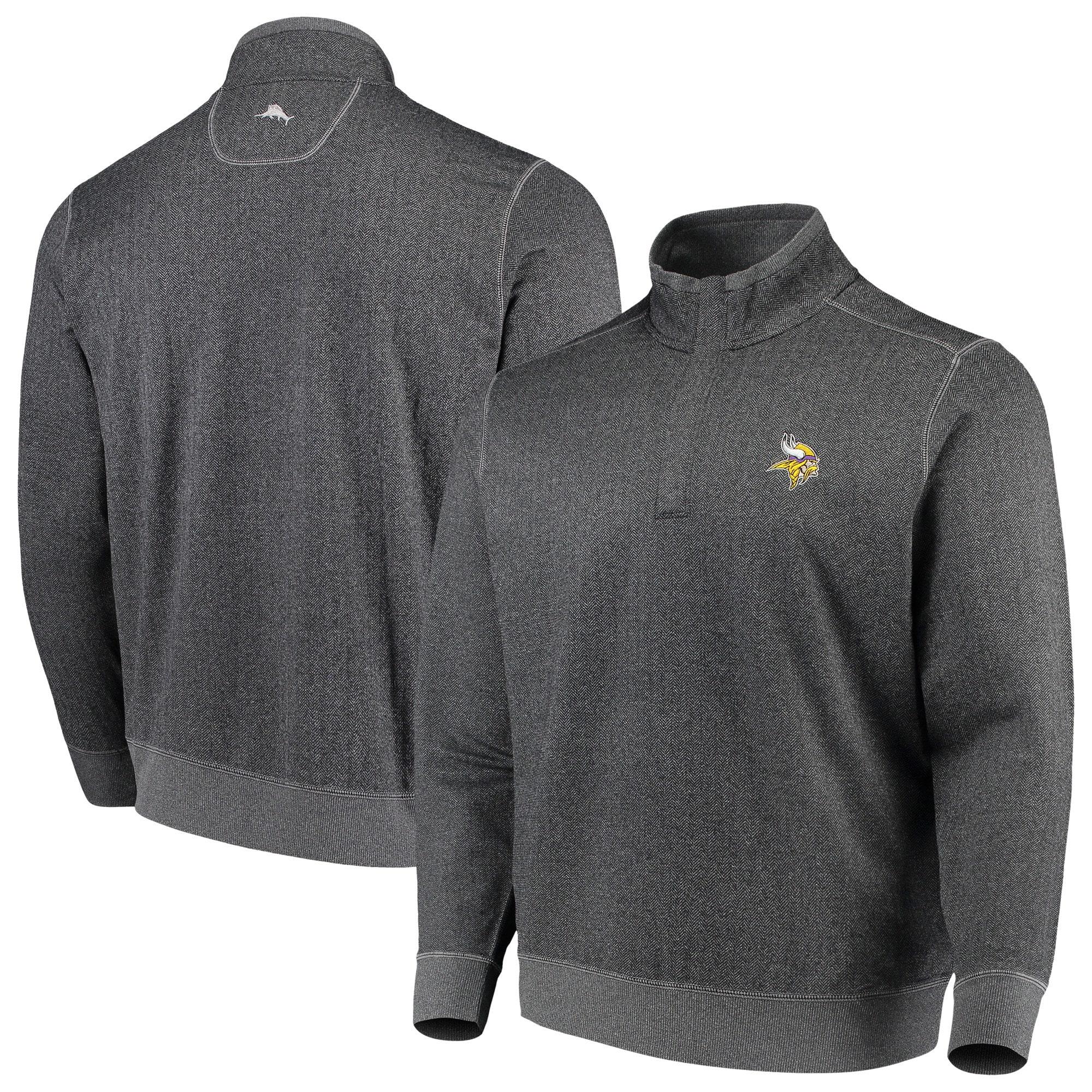 Minnesota Vikings Tommy Bahama ProFormance Half-Zip Pullover Jacket - Heathered Charcoal