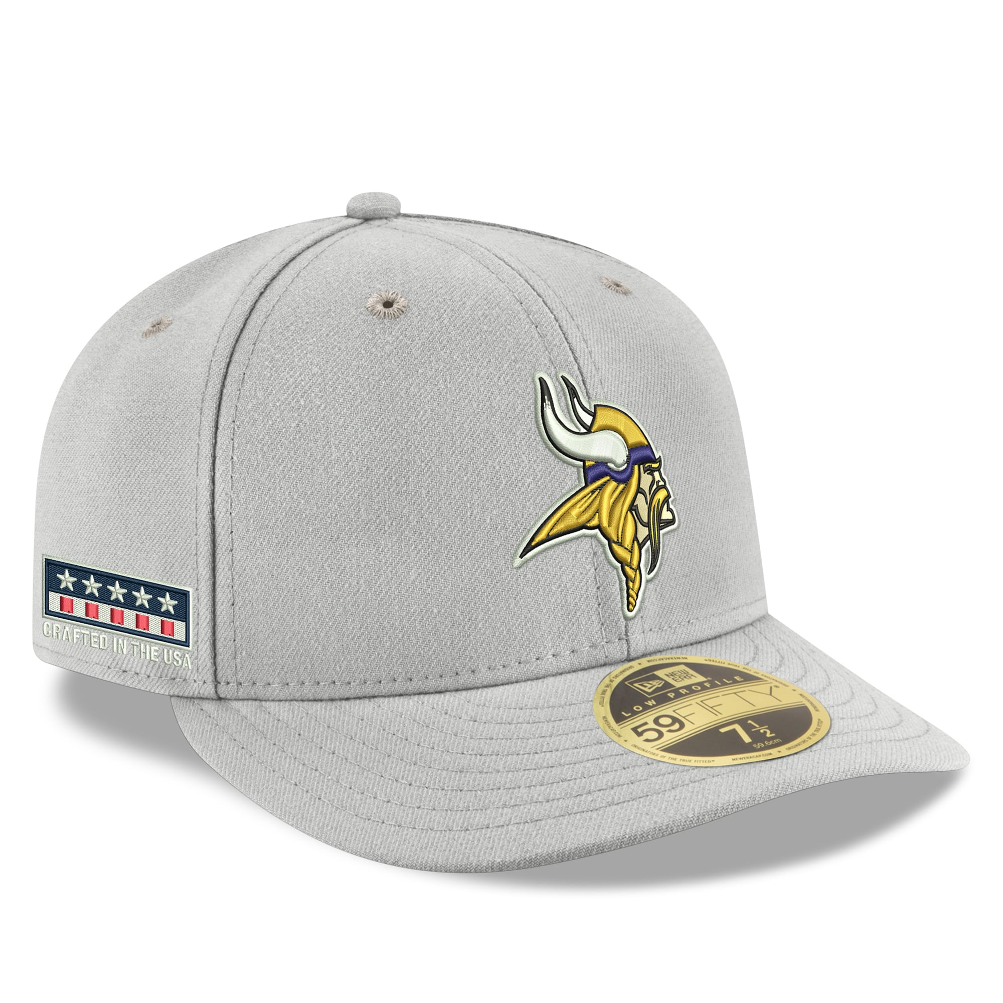 Minnesota Vikings New Era Crafted in the USA Low Profile 59FIFTY Fitted Hat - Gray