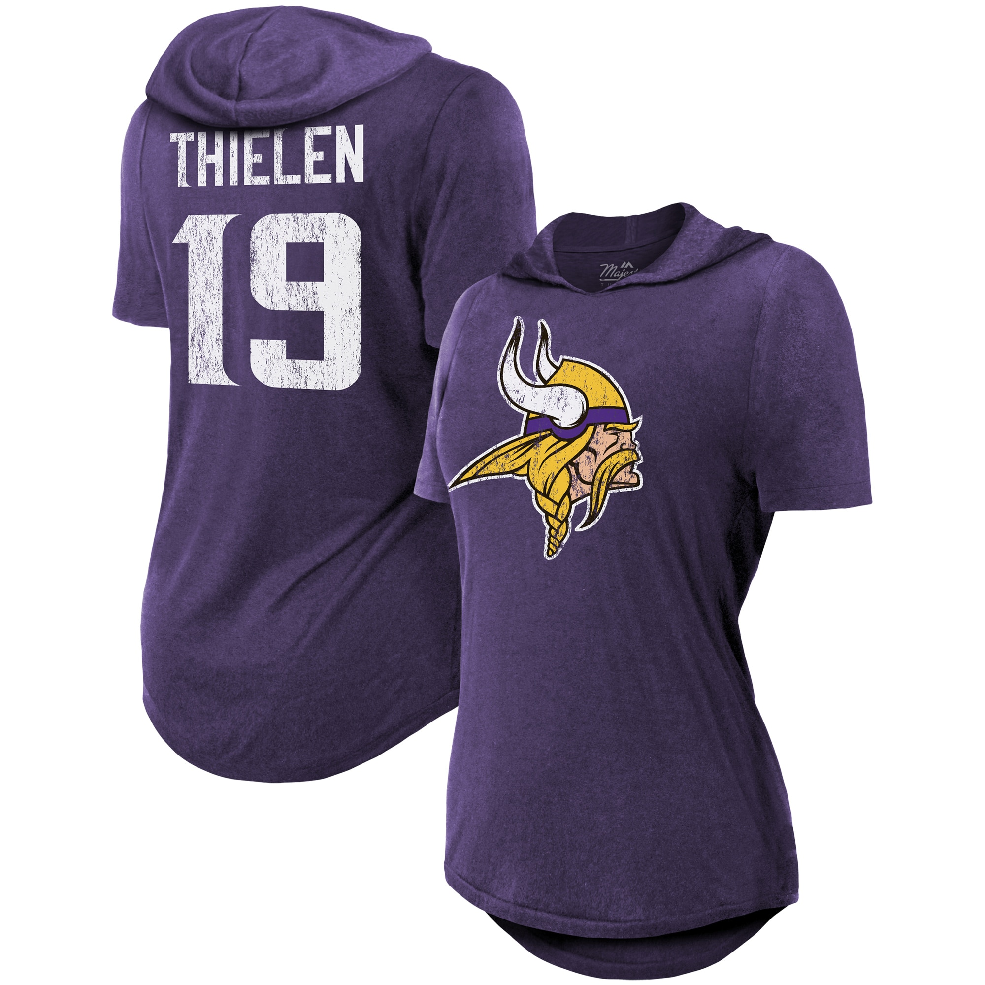 Adam Thielen Minnesota Vikings Majestic Threads Women's Hilo Name & Number Hoodie T-Shirt - Purple