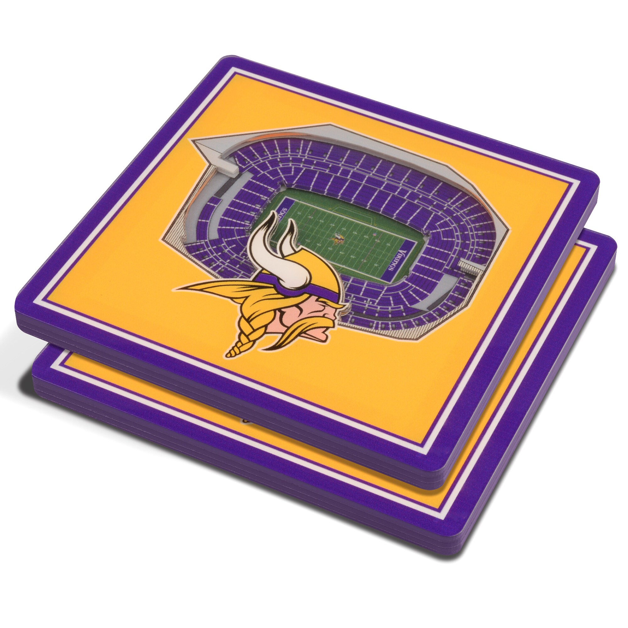 Minnesota Vikings 3D StadiumViews Coasters - Yellow