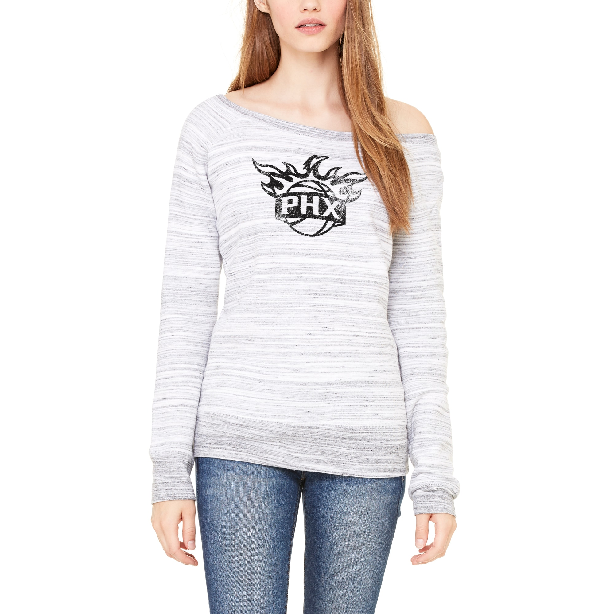 Phoenix Suns Let Loose by RNL Women's Game Day Wide Neck Sweatshirt - Ash