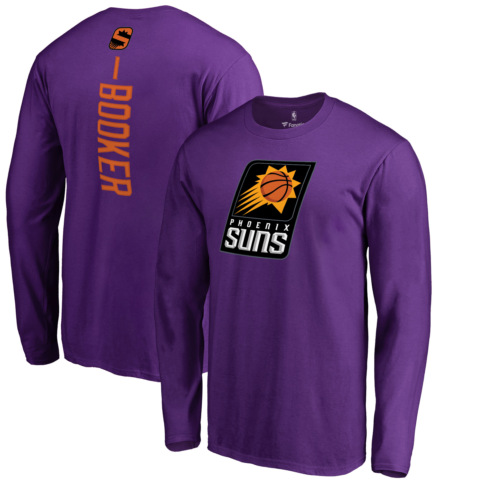Devin Booker Phoenix Suns Fanatics Branded Backer Name & Number Long Sleeve T-Shirt - Purple