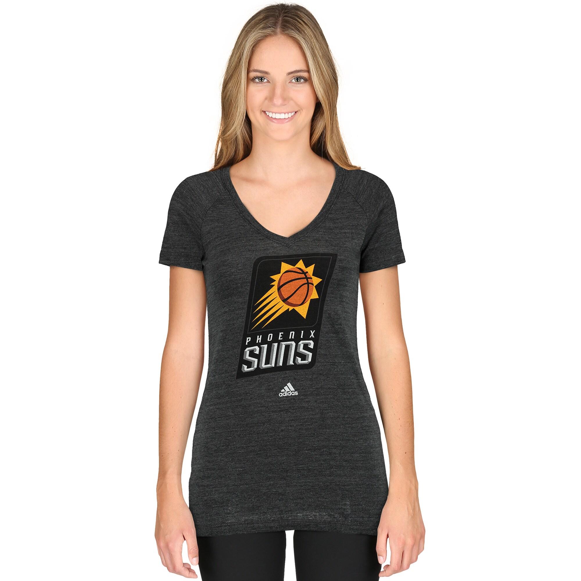 Phoenix Suns adidas Women's Primary Logo Tri-Blend V-Neck T-Shirt - Black