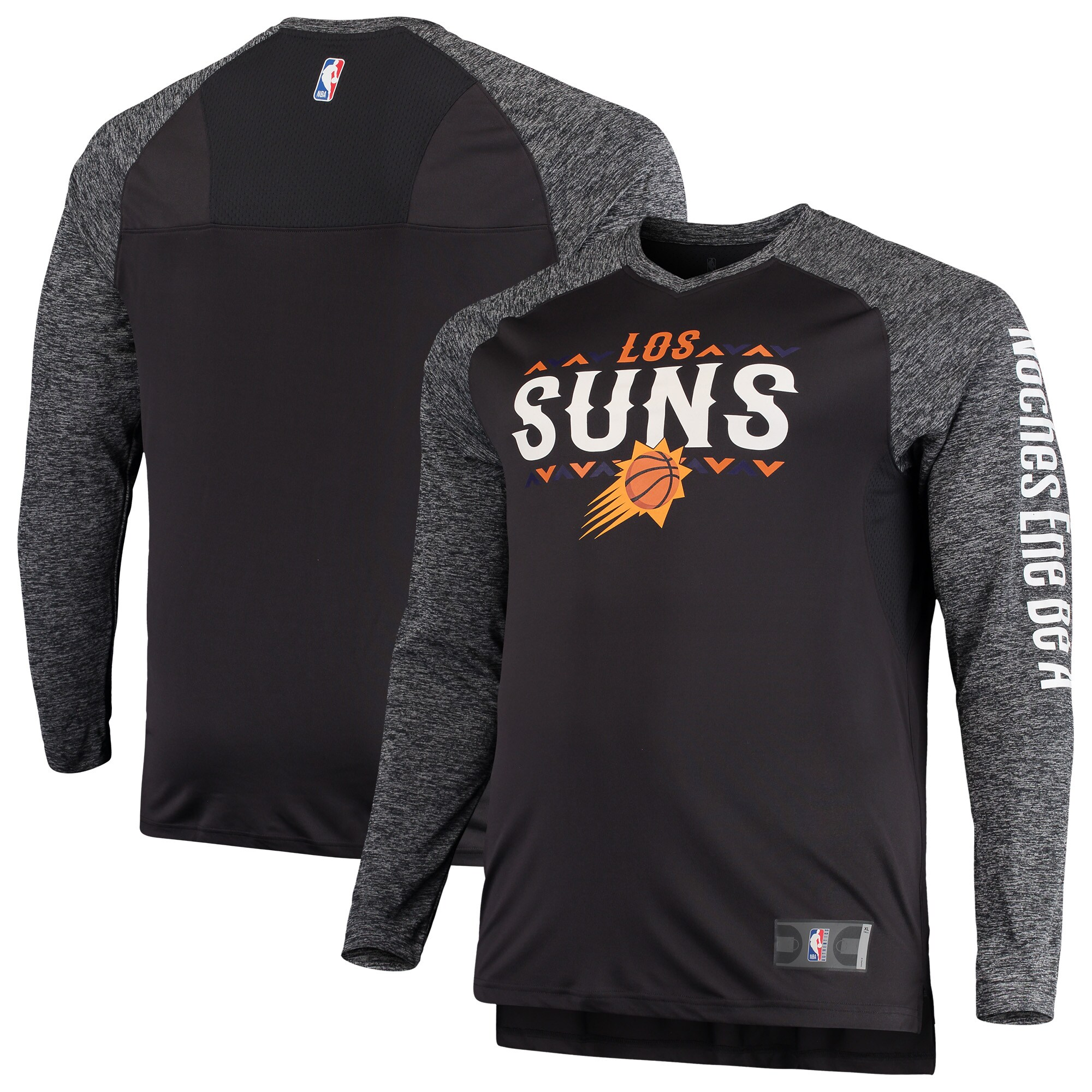 Phoenix Suns Fanatics Branded Noches Shooting Long Sleeve Raglan V-Neck T-Shirt - Gray