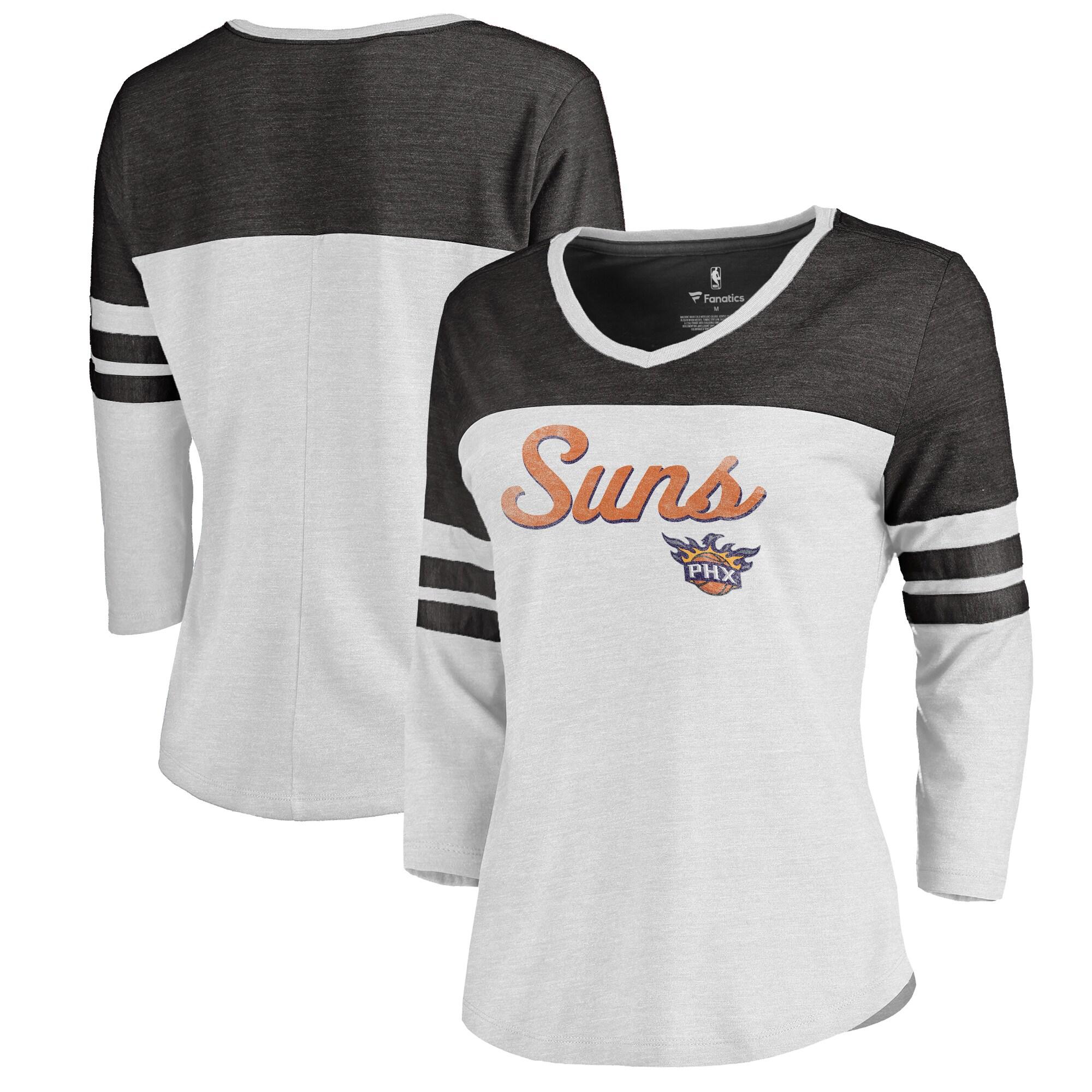 Phoenix Suns Fanatics Branded Women's Rising Script Plus Size Color Block 3/4 Sleeve Tri-Blend T-Shirt - White