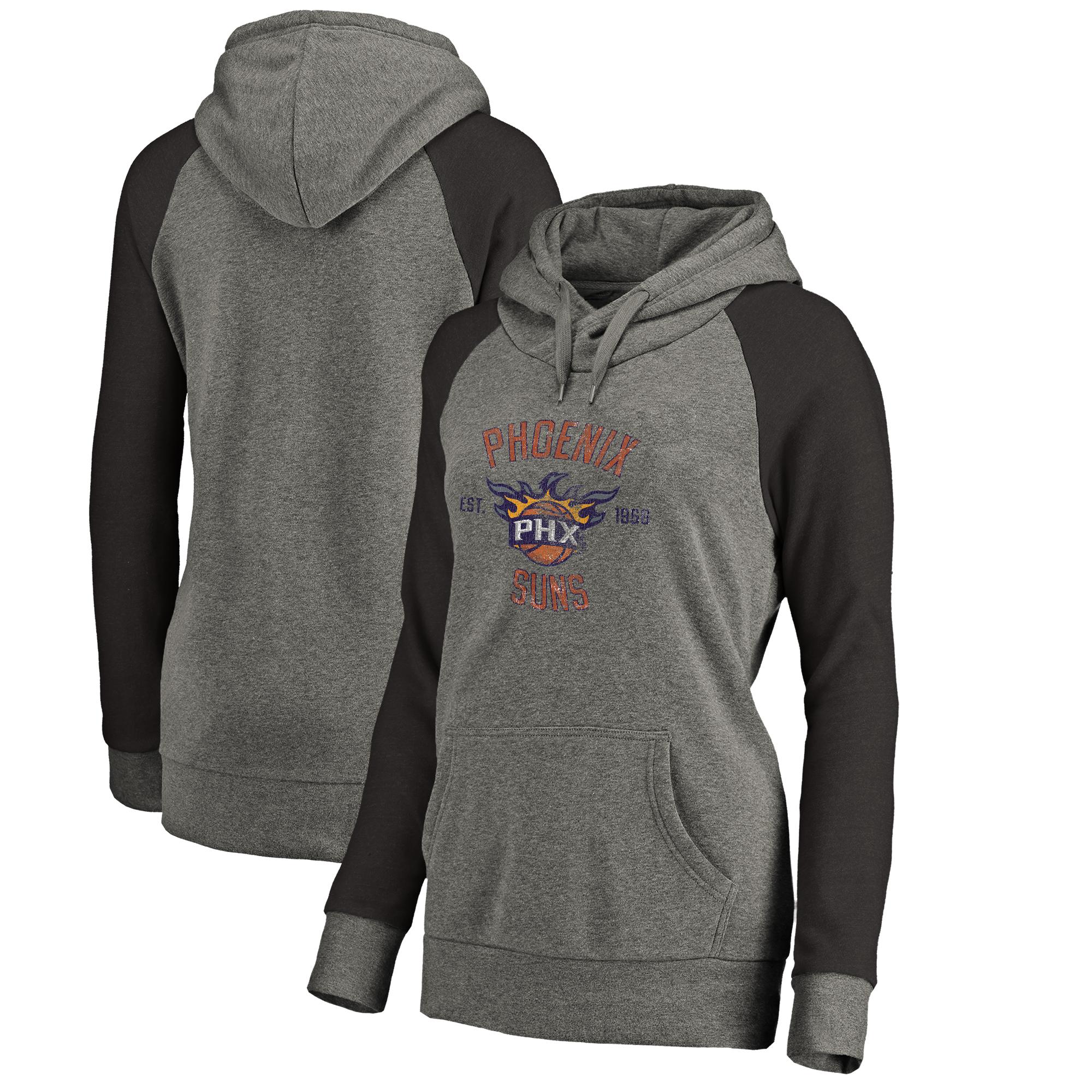 Phoenix Suns Fanatics Branded Women's Heritage Tri-Blend Raglan Plus Size Pullover Hoodie - Heathered Gray
