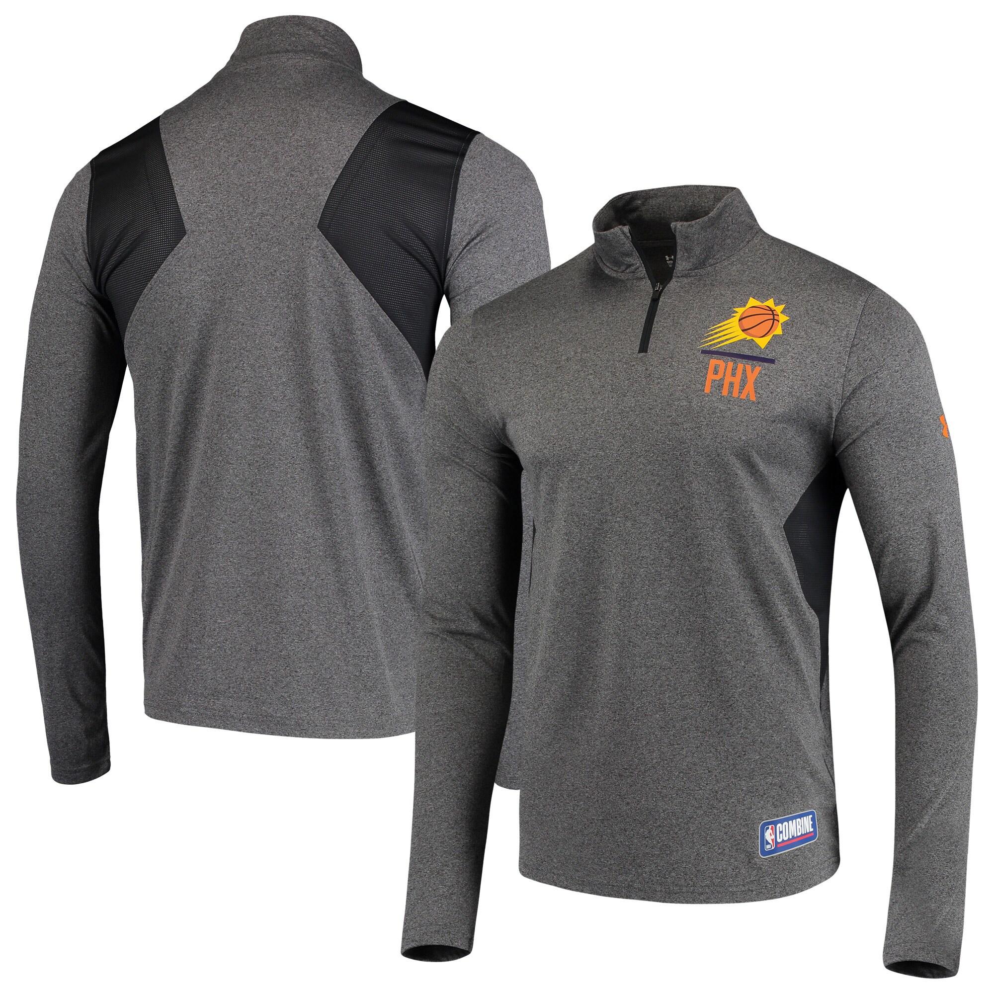 Phoenix Suns Under Armour Combine Authentic Season Tech Quarter-Zip Pullover Jacket - Heathered Charcoal