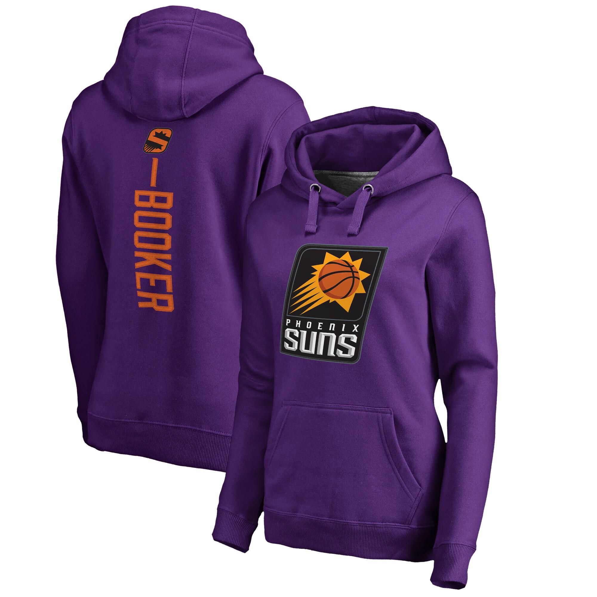 Devin Booker Phoenix Suns Fanatics Branded Women's Backer Name & Number Pullover Hoodie - Purple