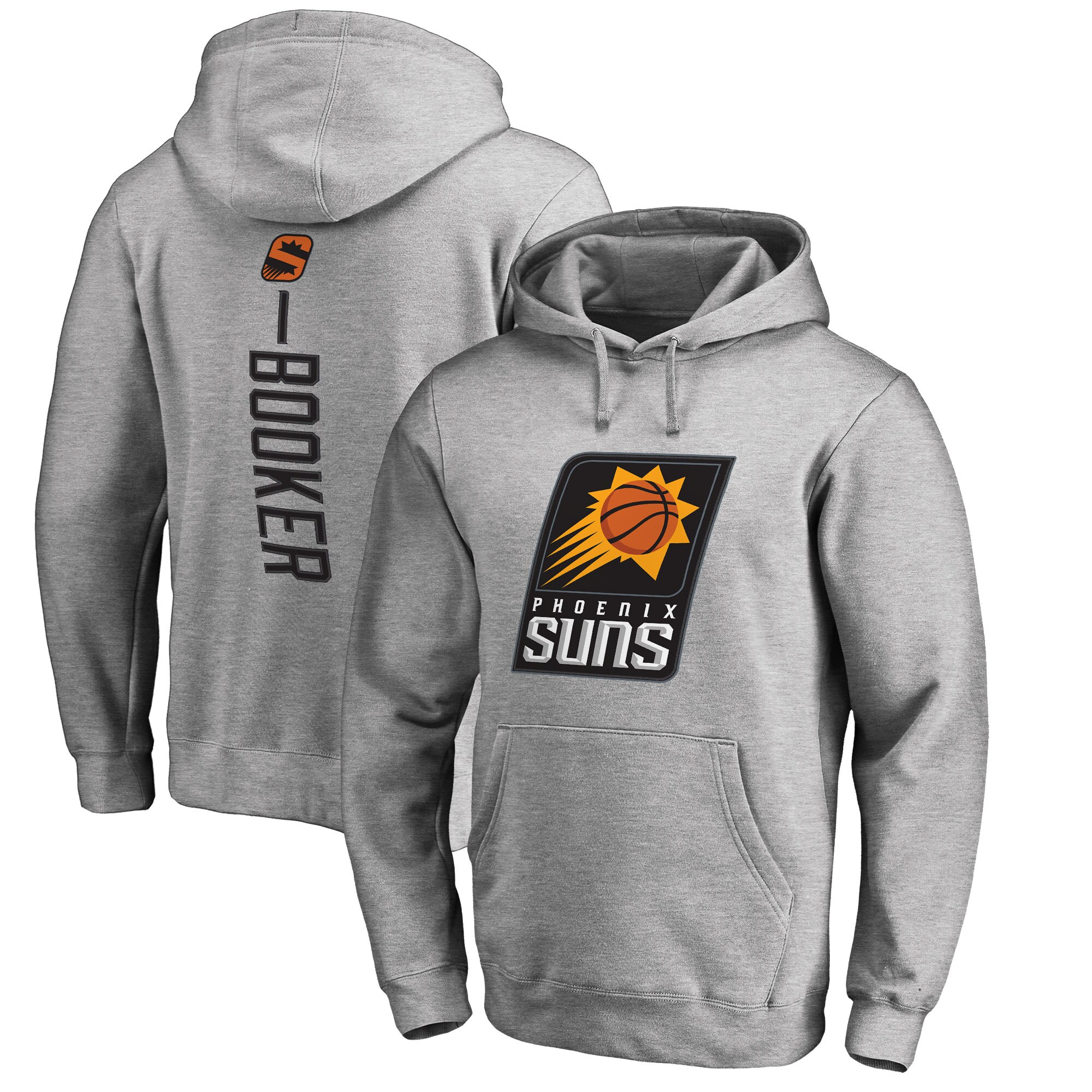Devin Booker Phoenix Suns Fanatics Branded Backer Name & Number Pullover Hoodie - Gray