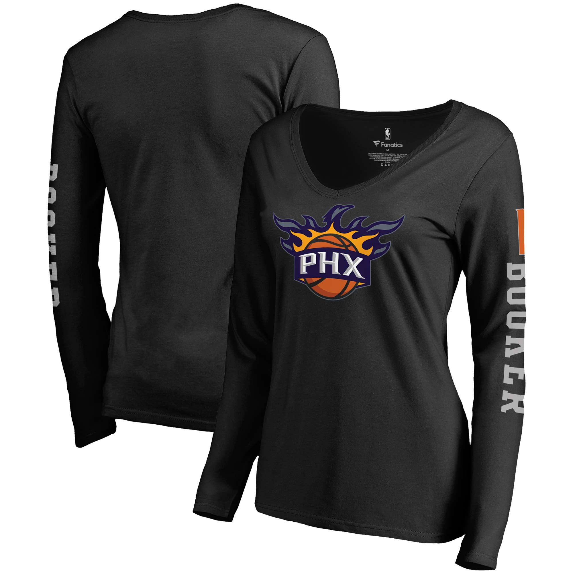 Devin Booker Phoenix Suns Fanatics Branded Women's Team Idol Name & Number Long Sleeve V-Neck T-Shirt - Black