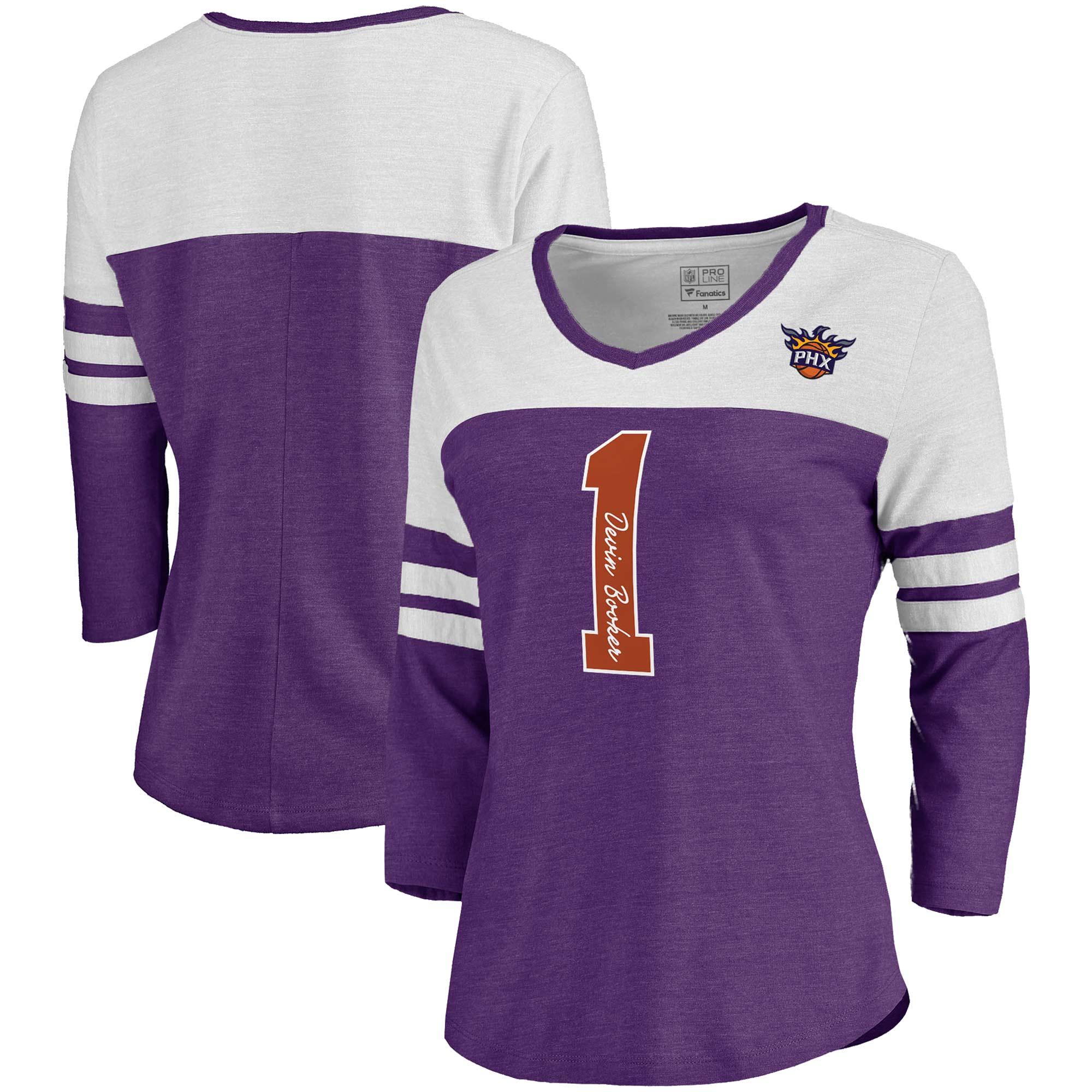 Devin Booker Phoenix Suns Fanatics Branded Women's Starstruck Name & Number Tri-Blend 3/4-Sleeve V-Neck T-Shirt - Purple