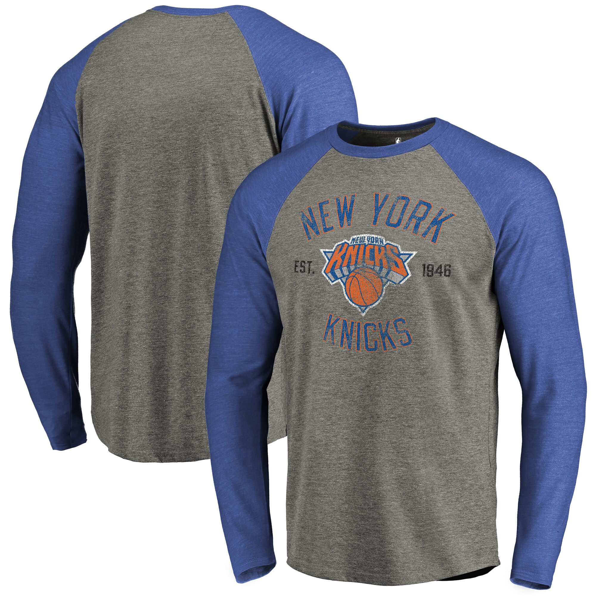 New York Knicks Fanatics Branded Heritage Long Sleeve Raglan T-Shirt - Heathered Gray