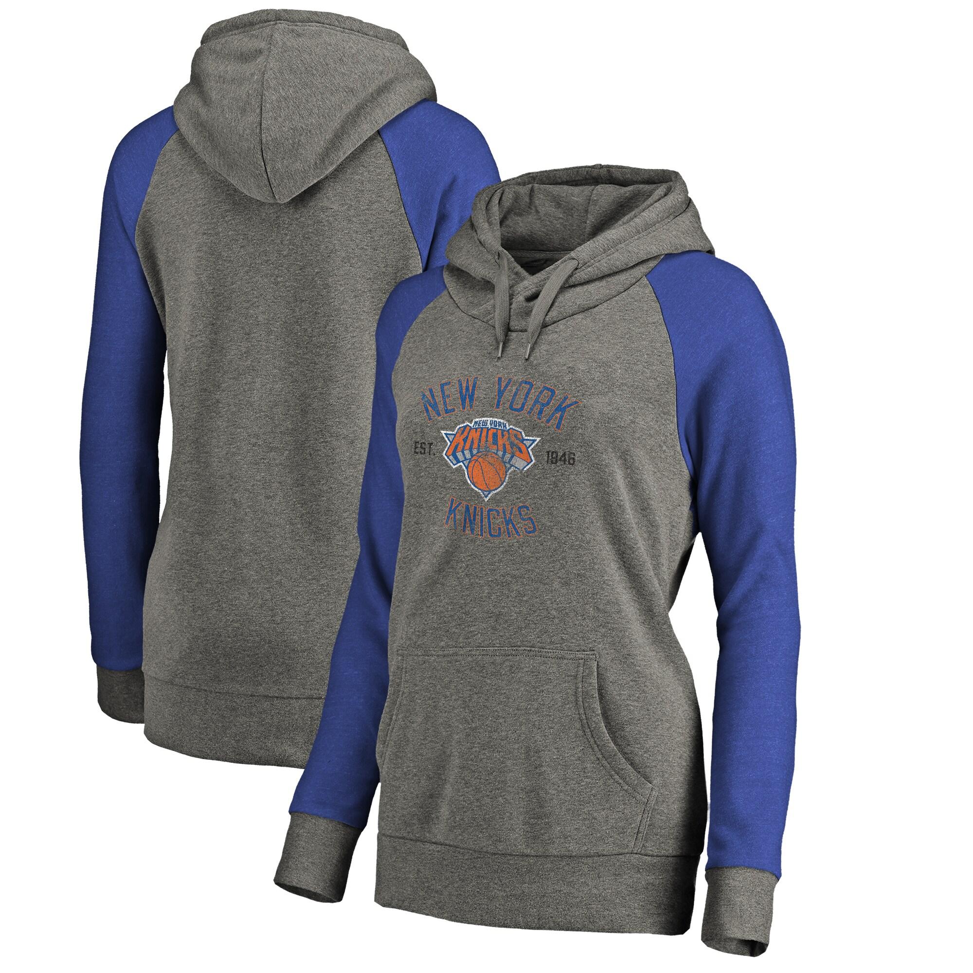 New York Knicks Fanatics Branded Women's Heritage Tri-Blend Raglan Plus Size Pullover Hoodie - Heathered Gray