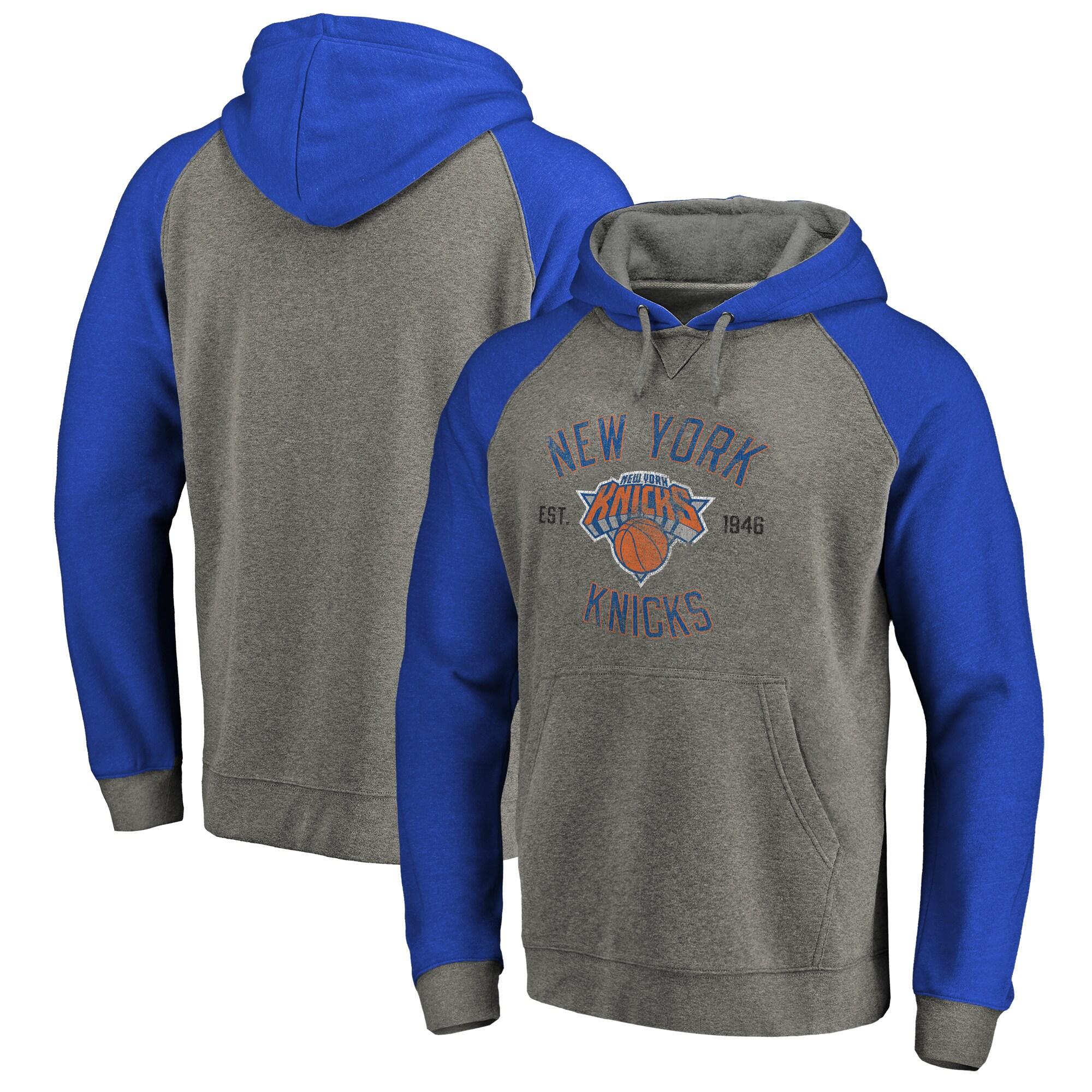 New York Knicks Fanatics Branded Heritage Tri-Blend Raglan Pullover Hoodie - Heathered Gray