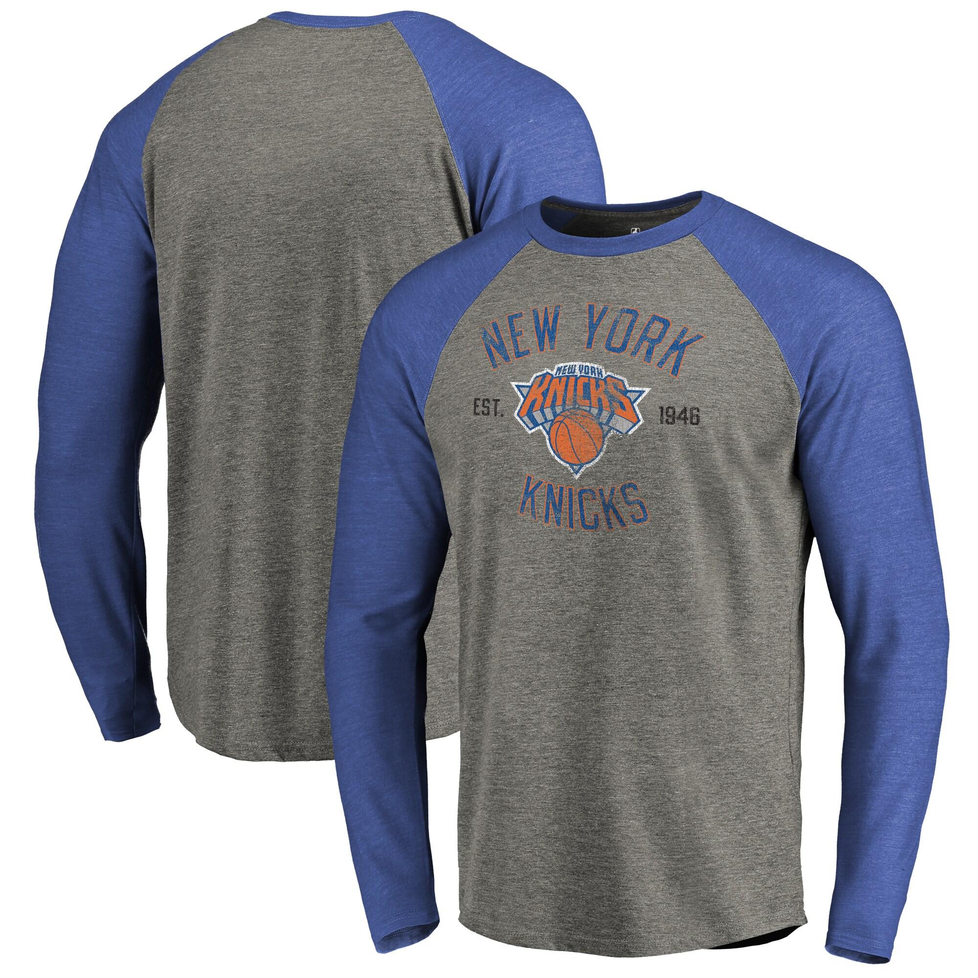 New York Knicks Fanatics Branded Heritage Big and Tall Long Sleeve Tri-Blend Raglan T-Shirt - Heathered Gray