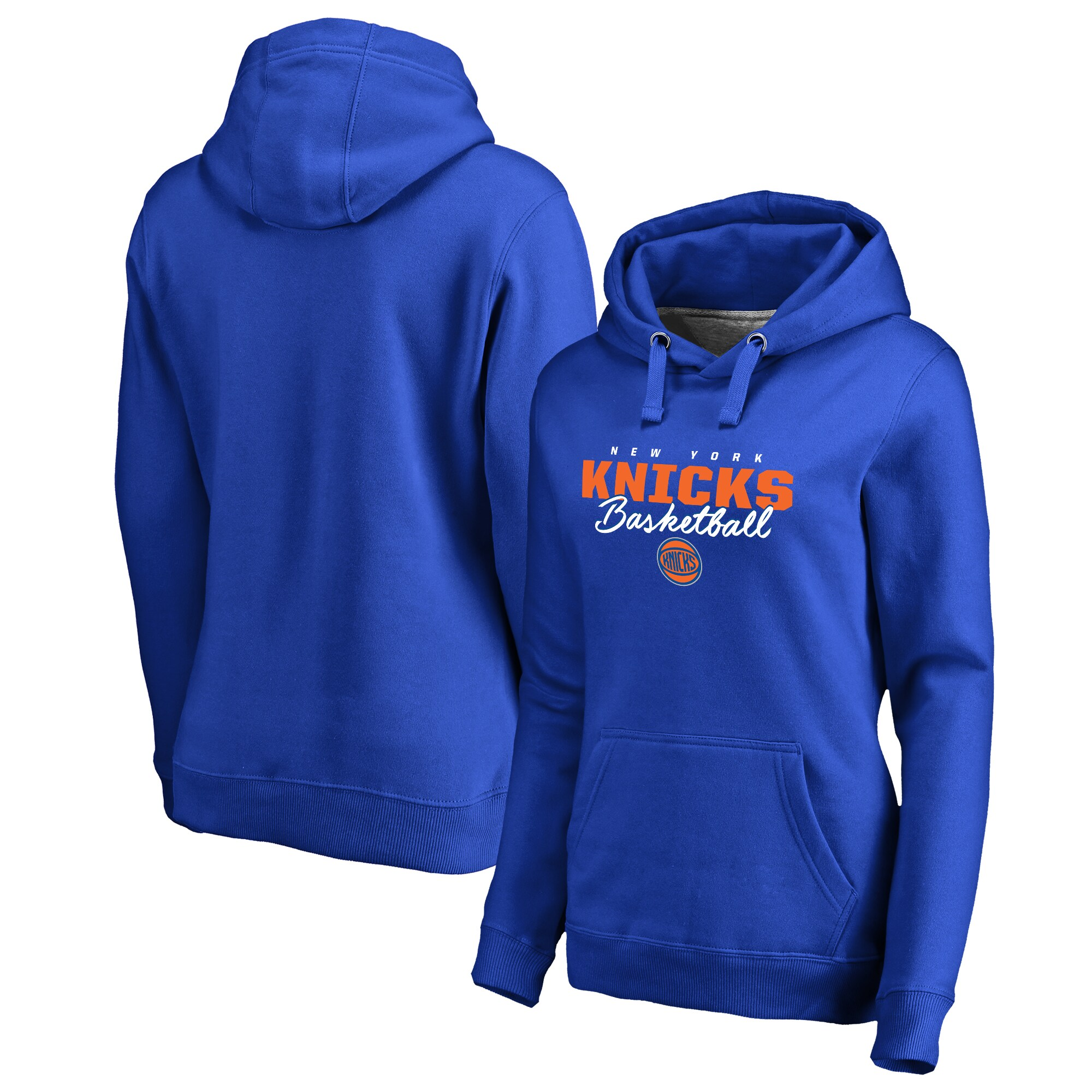New York Knicks Fanatics Branded Women's Script Assist Plus Size Pullover Hoodie - Royal