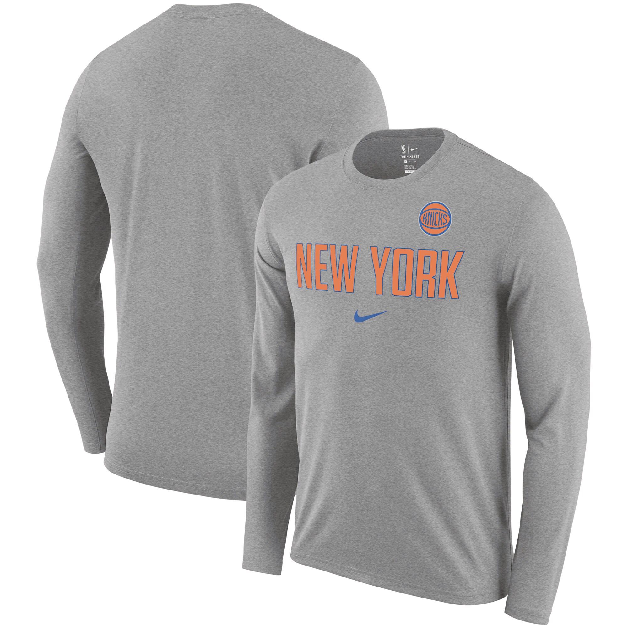 New York Knicks Nike Essential Facility Slub Performance Long Sleeve T-Shirt - Heathered Charcoal