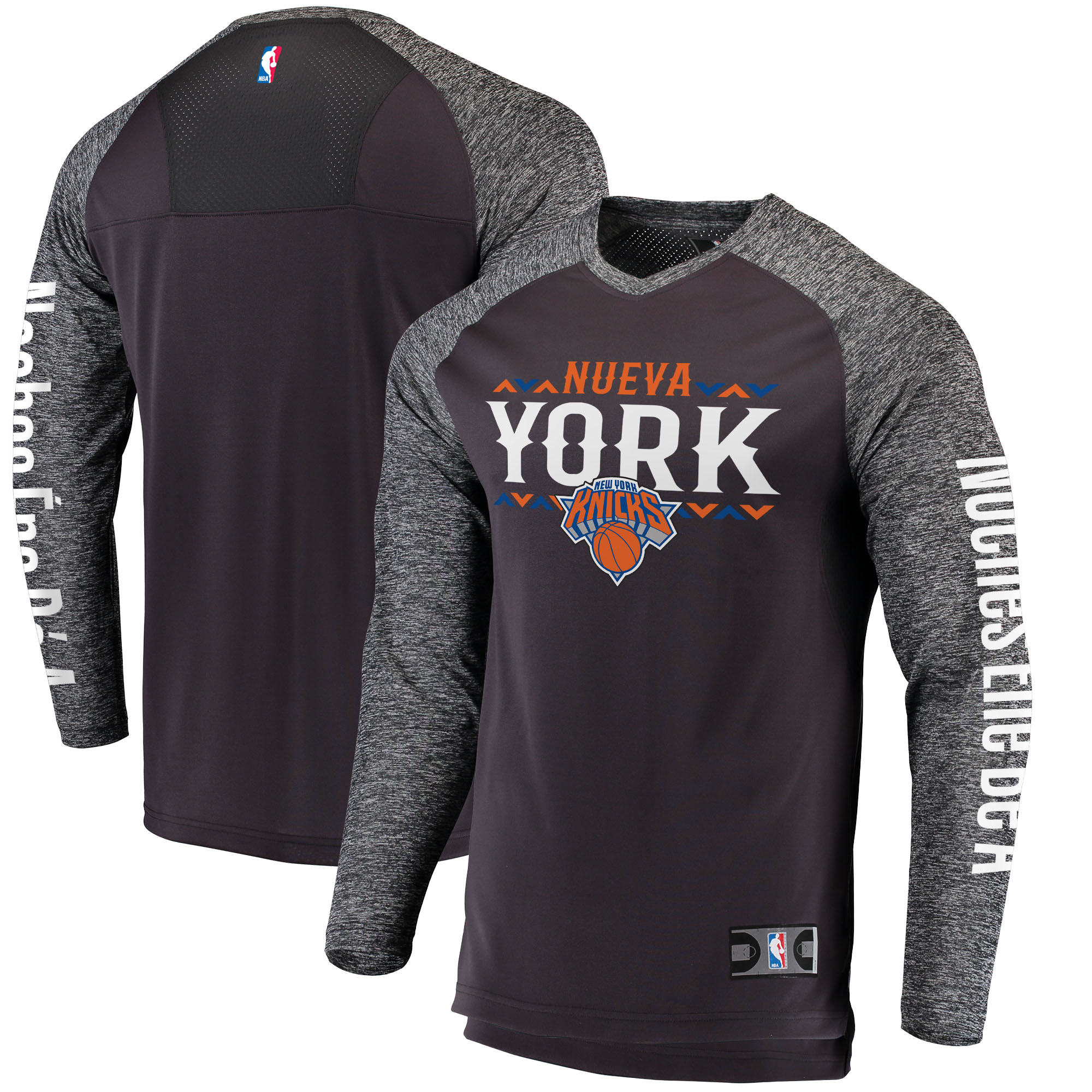 New York Knicks Fanatics Branded Noches Ene-Be-A Authentic Long Sleeve Shooting Shirt - Black/Heathered Gray