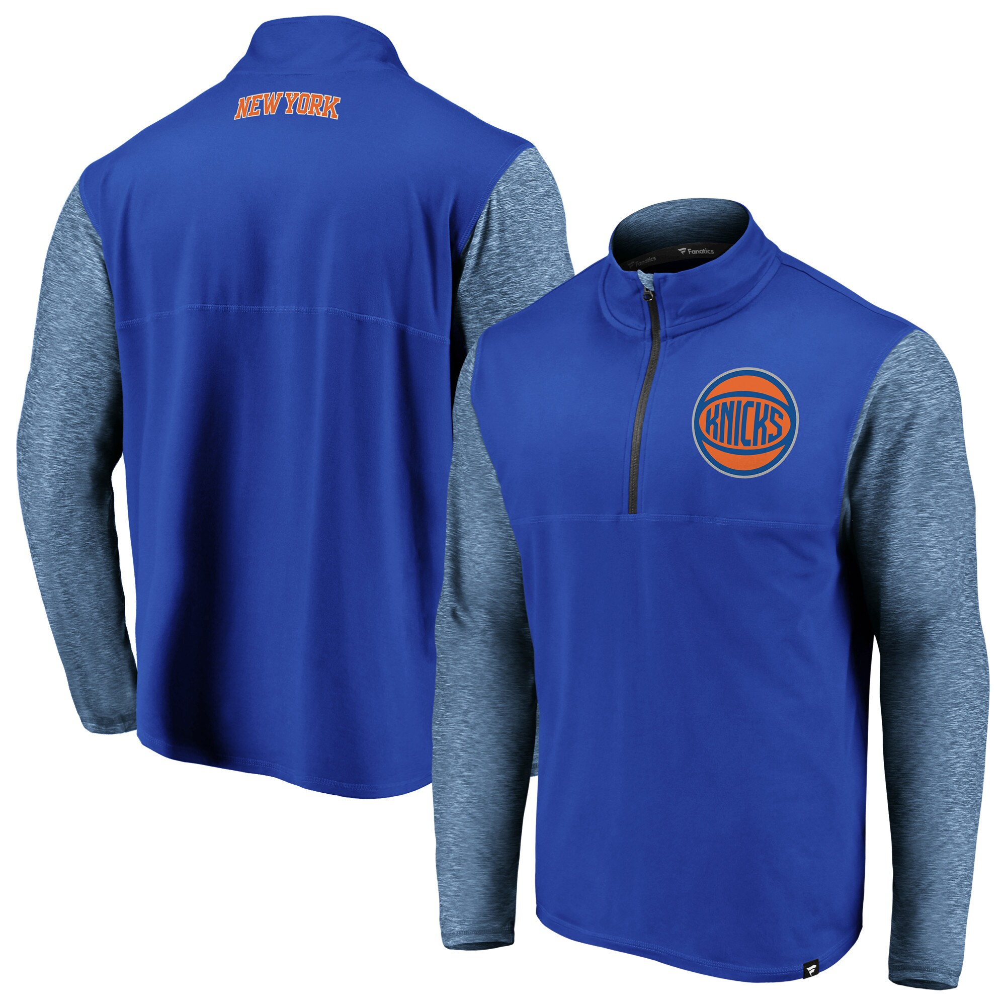 New York Knicks Fanatics Branded Made to Move Static Performance Quarter-Zip Pullover Jacket - Blue/Heathered Blue