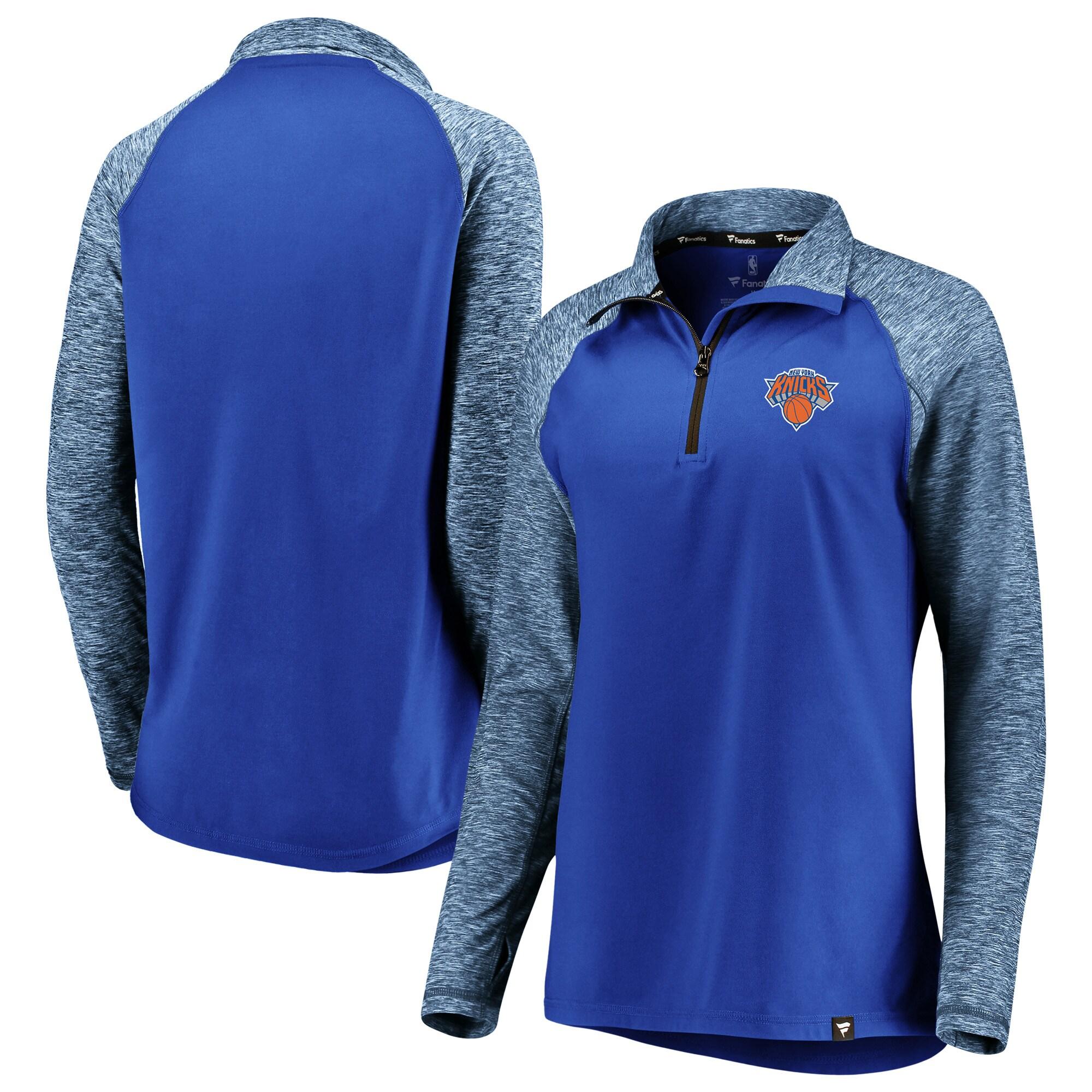 New York Knicks Fanatics Branded Women's Made to Move Static Performance Raglan Sleeve Quarter-Zip Pullover Jacket - Blue/Heathered Blue