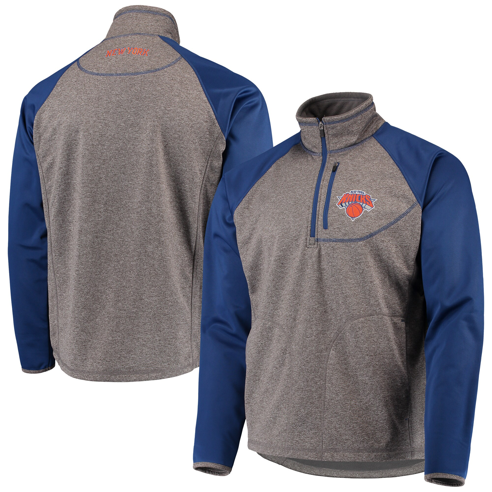 New York Knicks G-III Sports by Carl Banks Mountain Trail Half-Zip Pullover Jacket - Gray/Blue