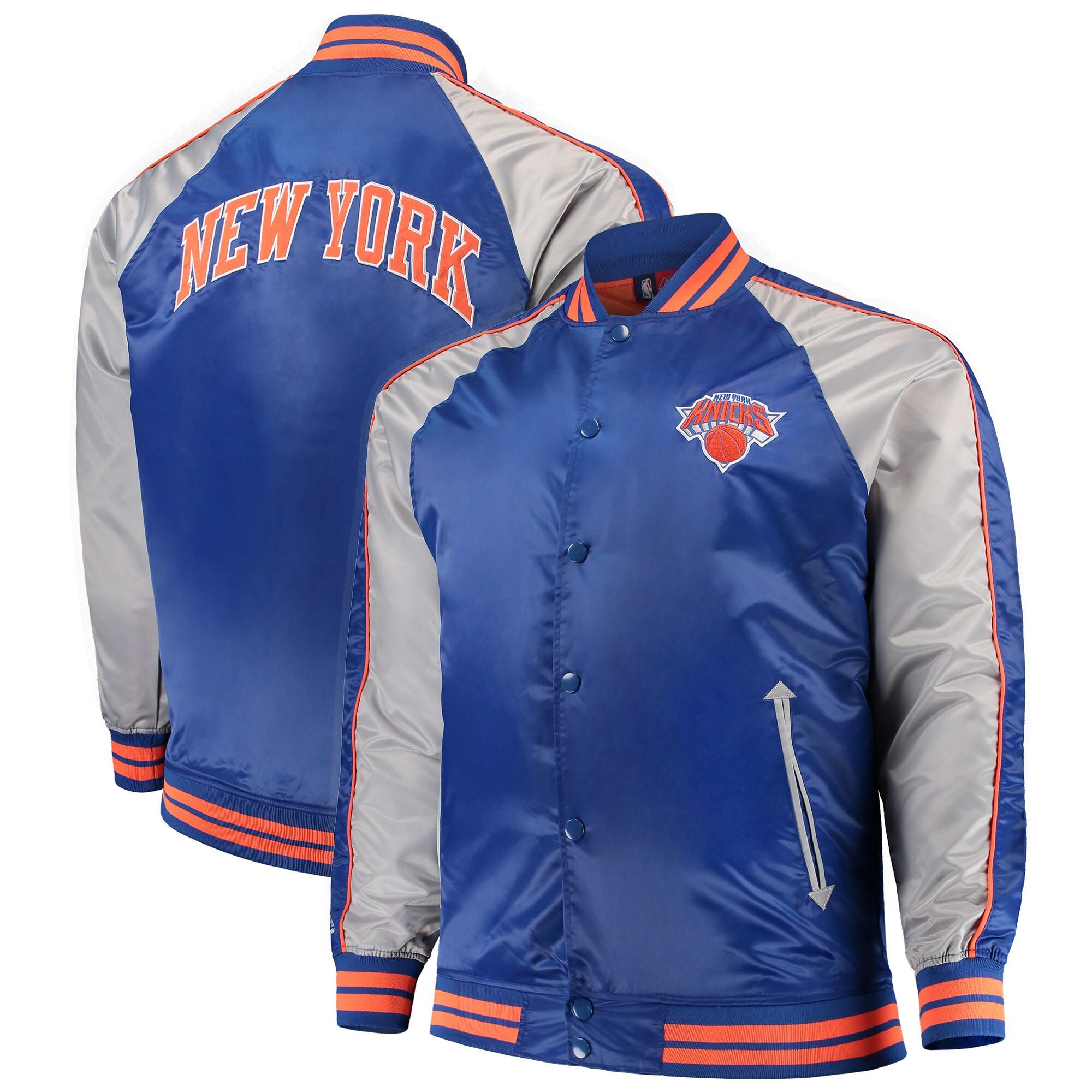 New York Knicks Majestic Big & Tall Lightweight Satin Full-Snap Jacket - Blue