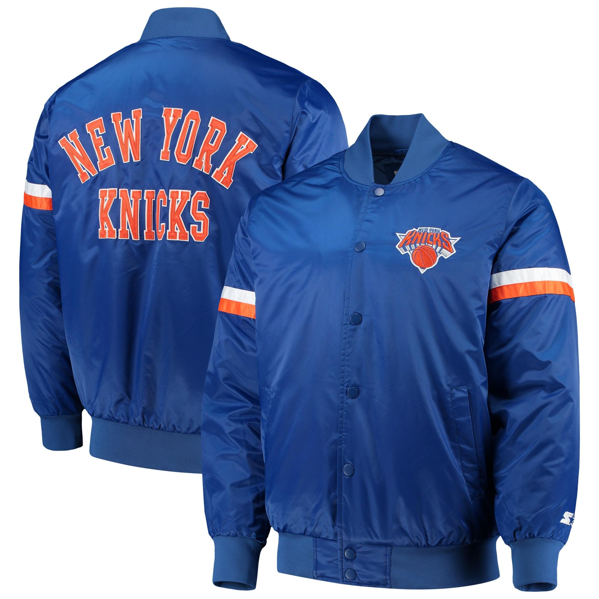 New York Knicks Starter The Champ Varsity Satin Jacket - Blue