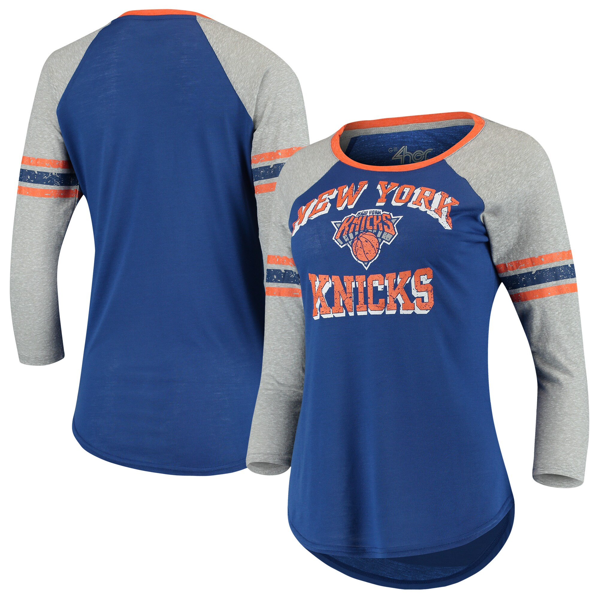 New York Knicks G-III 4Her by Carl Banks Women's The Court Tri-Blend Raglan 3/4-Sleeve T-Shirt - Blue/Heathered Gray