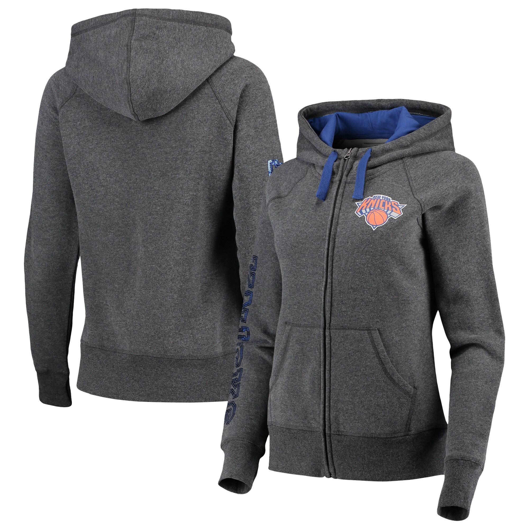 New York Knicks G-III 4Her by Carl Banks Women's Playoff Suede Fleece Full-Zip Jacket - Charcoal/Blue