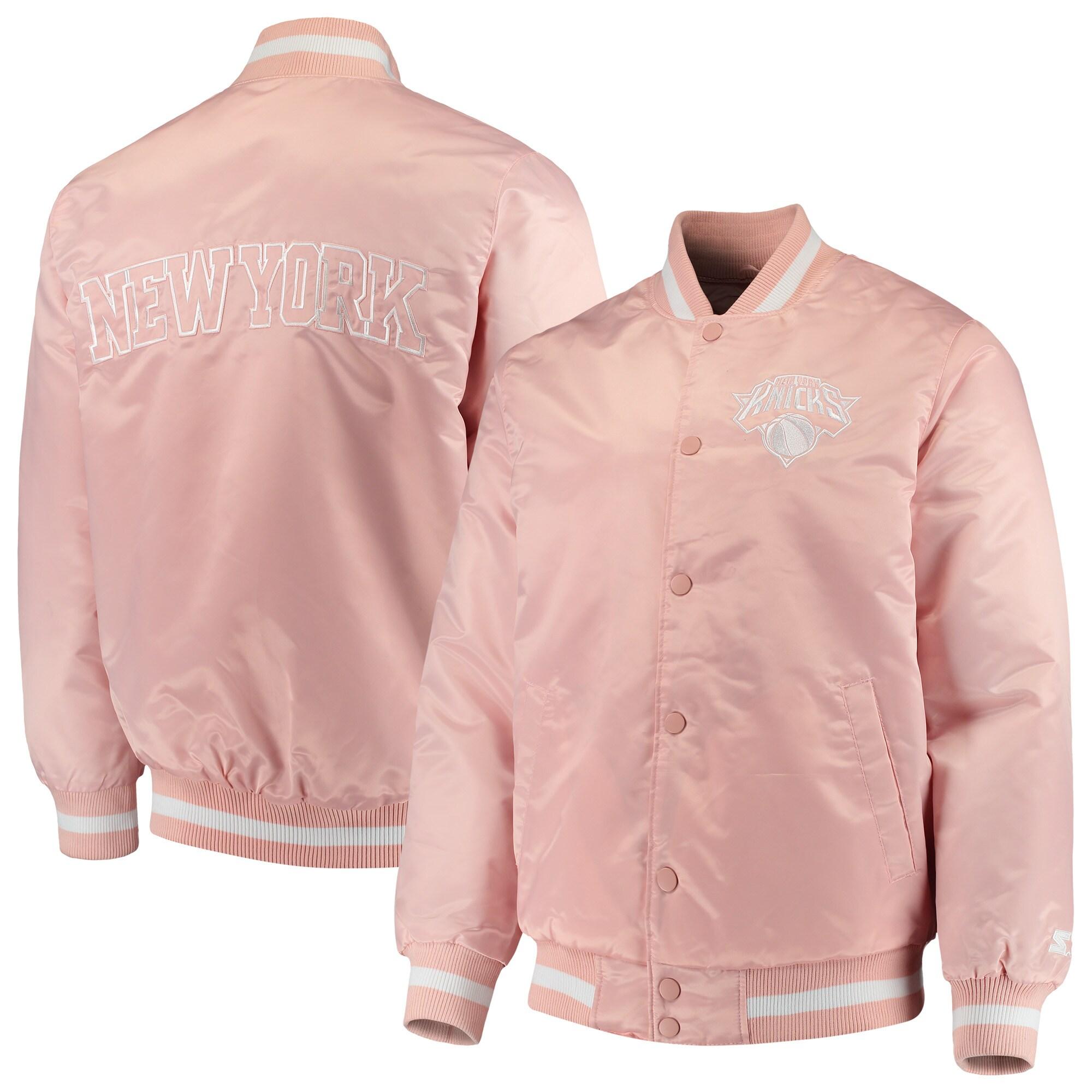 New York Knicks Starter Satin Full-Snap Jacket - Pink