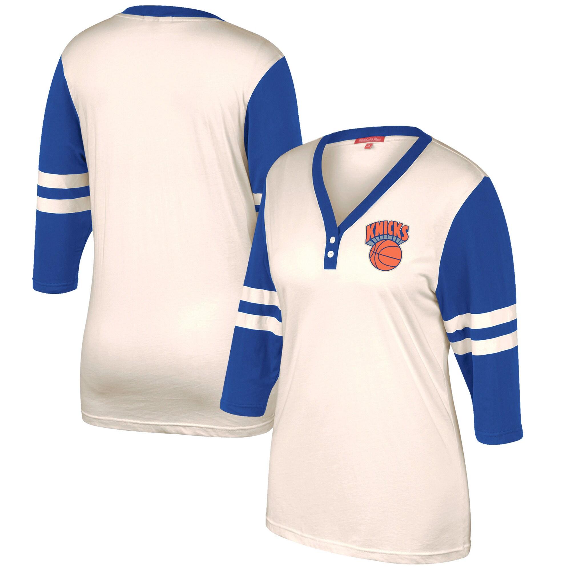 New York Knicks Mitchell & Ness Women's Shoot Out V-Neck 3/4 Sleeve T-Shirt - Cream