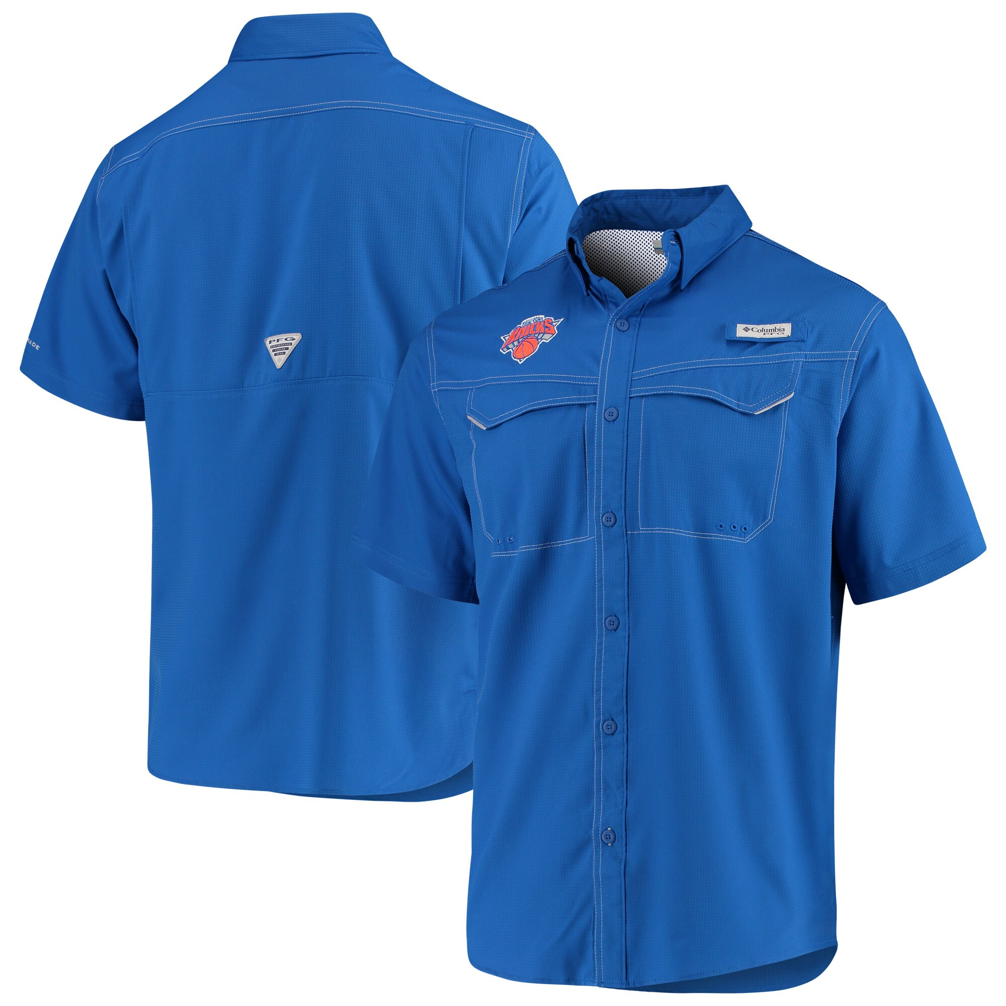New York Knicks Columbia Low Drag Offshore Omni-Shade Button-Up Shirt - Blue