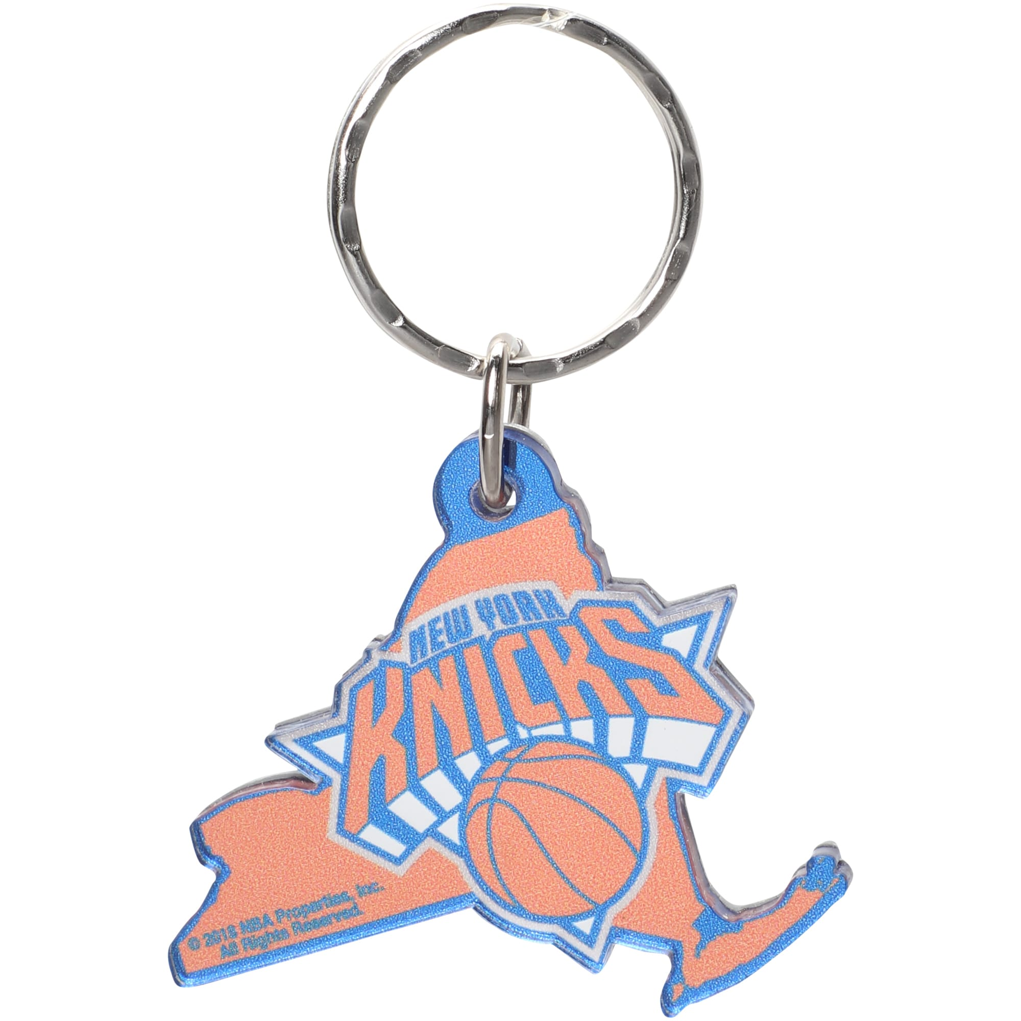New York Knicks Metallic State Shape Keychain