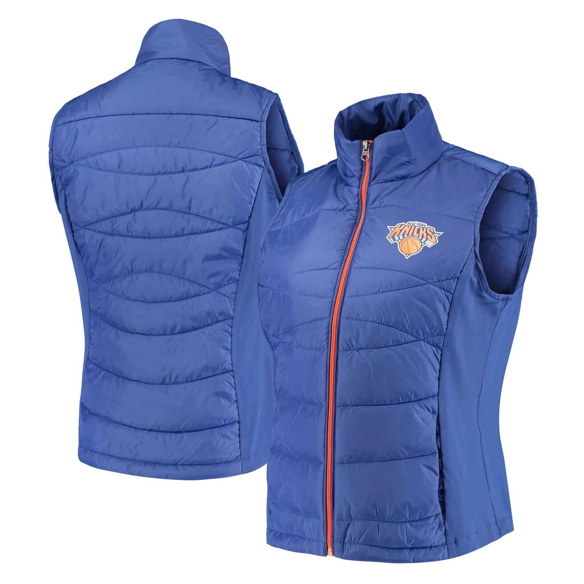 New York Knicks G-III 4Her by Carl Banks Women's Wing Back Lightweight Polyfill Vest - Blue