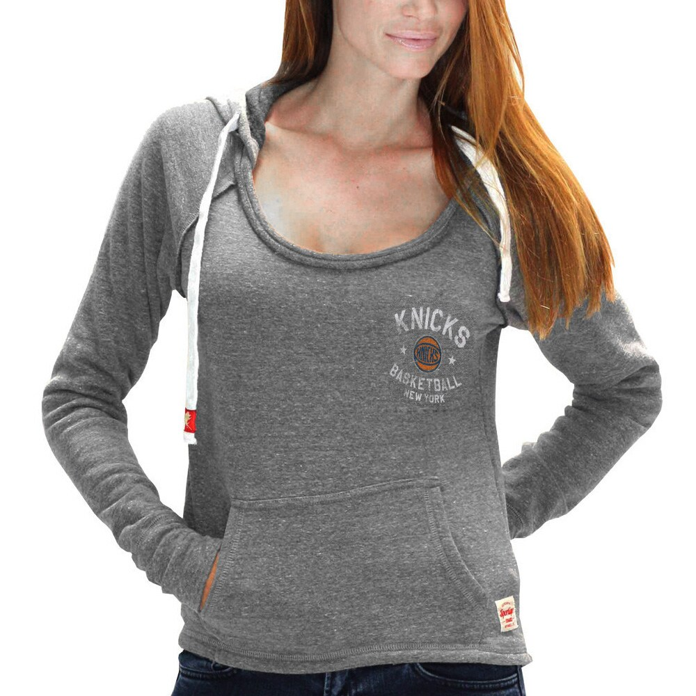 New York Knicks Sportiqe Women's Brooklyn Port Tri-Blend Pullover Hoodie - Gray