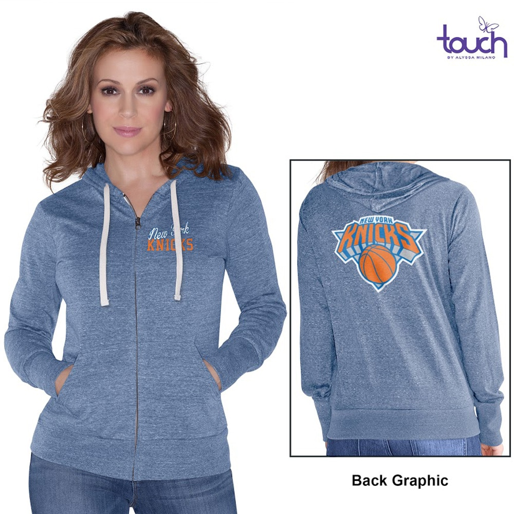 New York Knicks Touch by Alyssa Milano Women's Free Agent Tri-Blend Full Zip Hoodie - Royal Blue