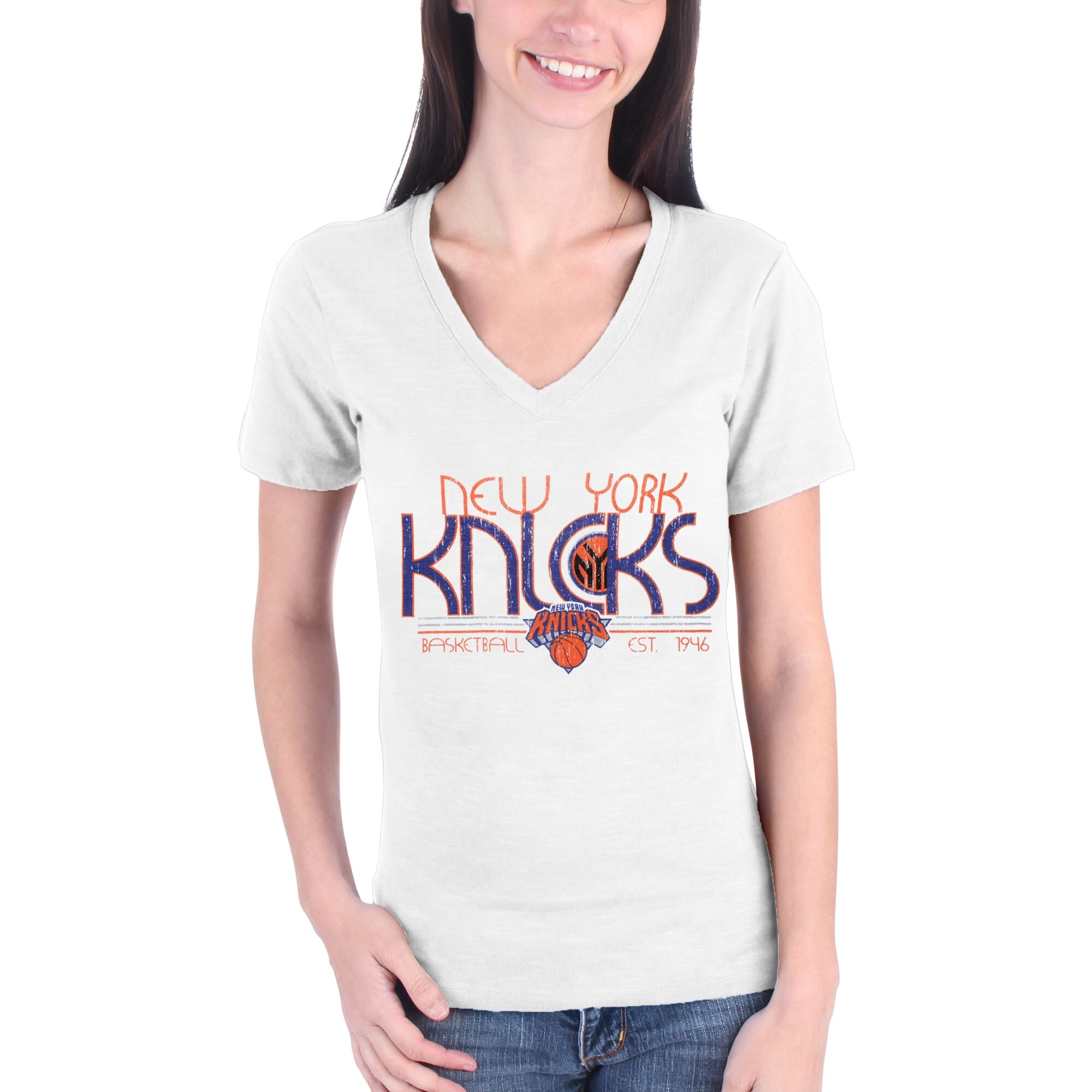 New York Knicks Women's Lifestyle Burnout Slim-Fit V-Neck T-Shirt - White