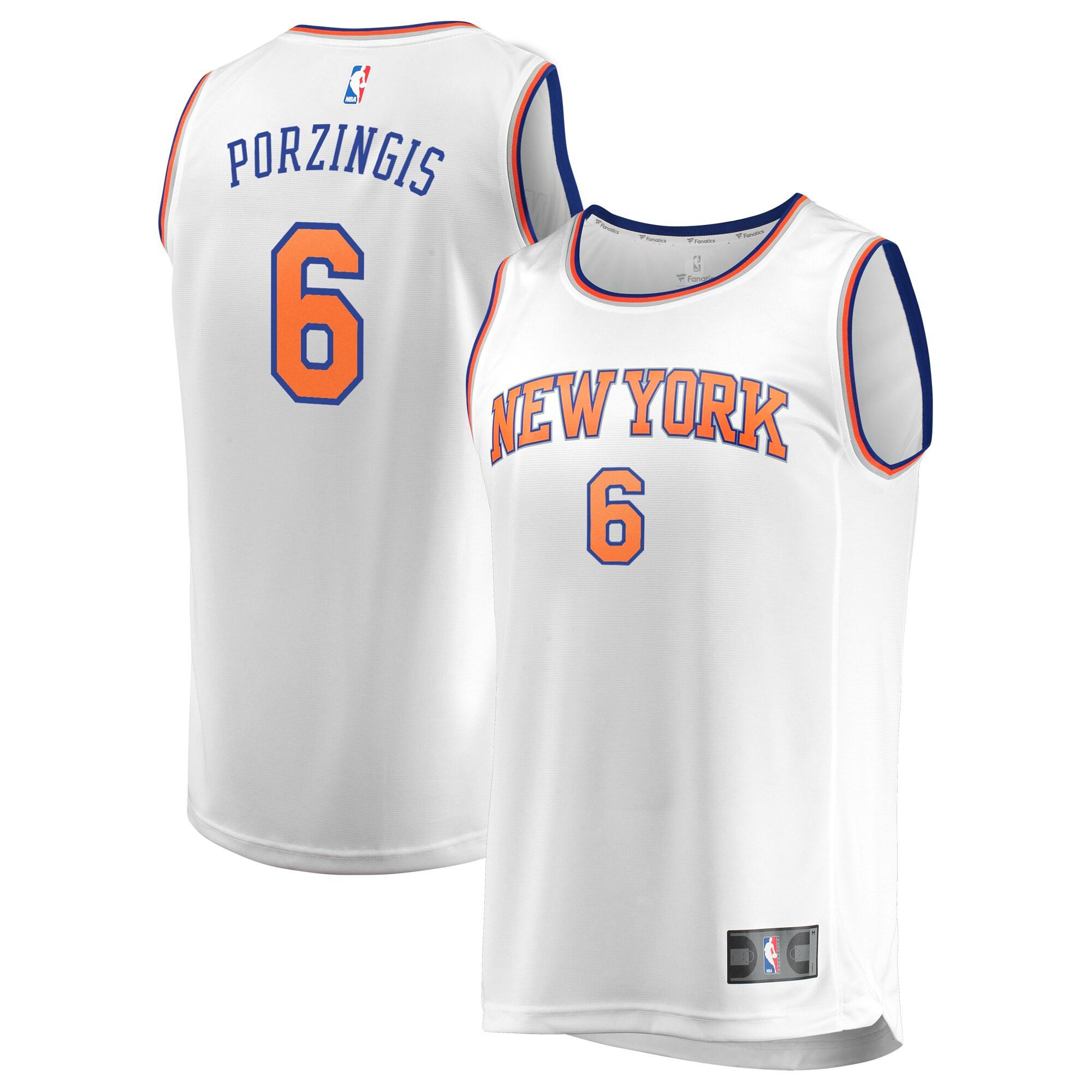 Kristaps Porzingis New York Knicks Fanatics Branded Fast Break Replica Jersey White - Association Edition