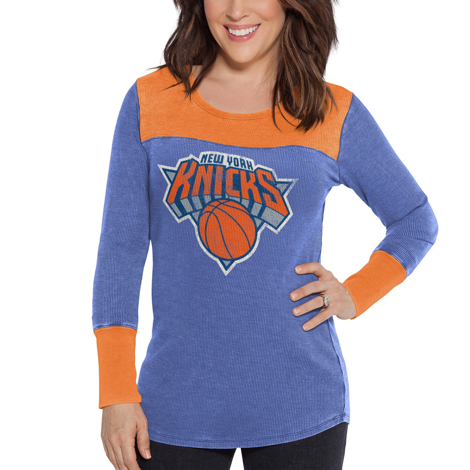 New York Knicks G-III Sports by Carl Banks Women's Blindside Long Sleeve Thermal T-Shirt - Royal/Orange