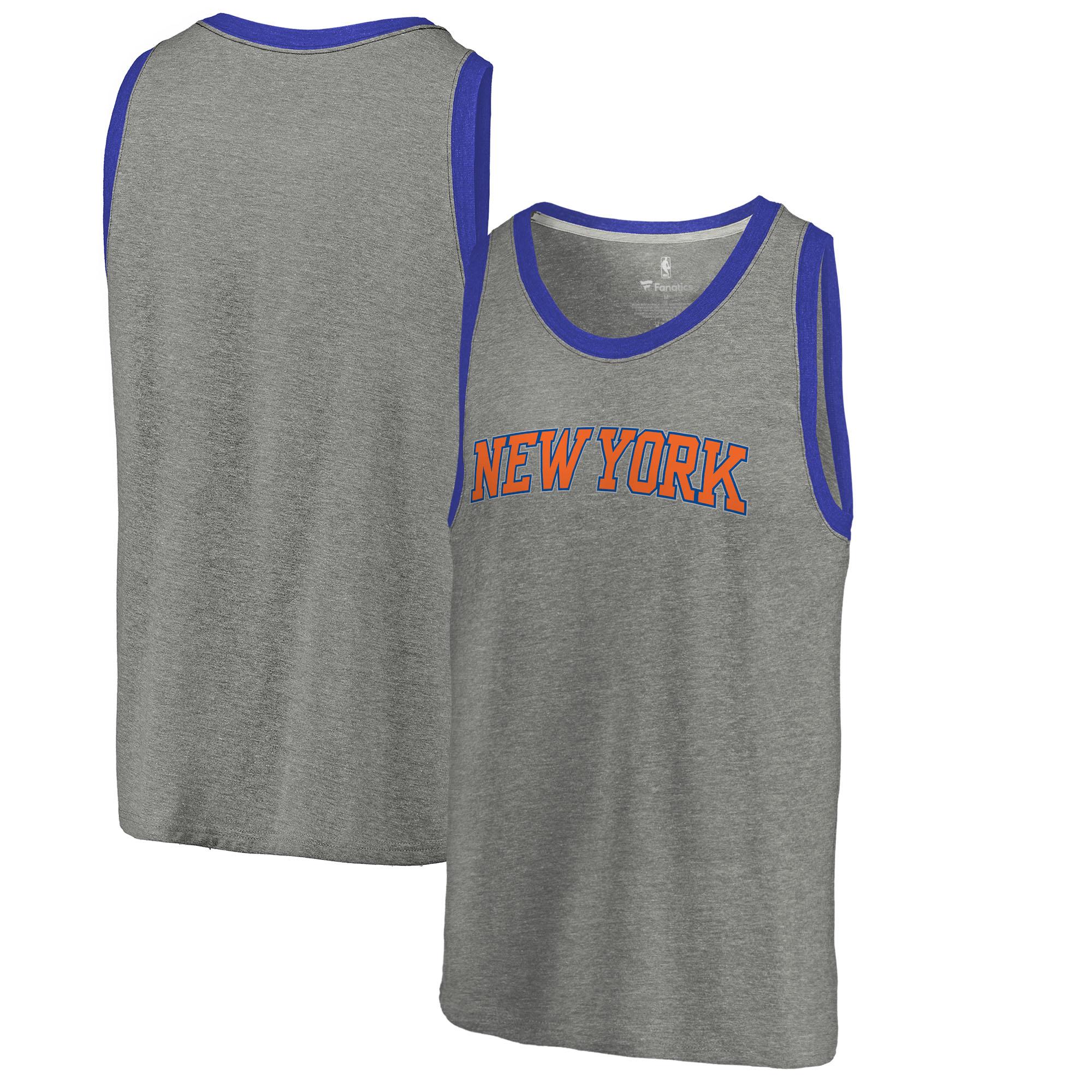 New York Knicks Fanatics Branded Wordmark Tri-Blend Tank Top - Heathered Gray