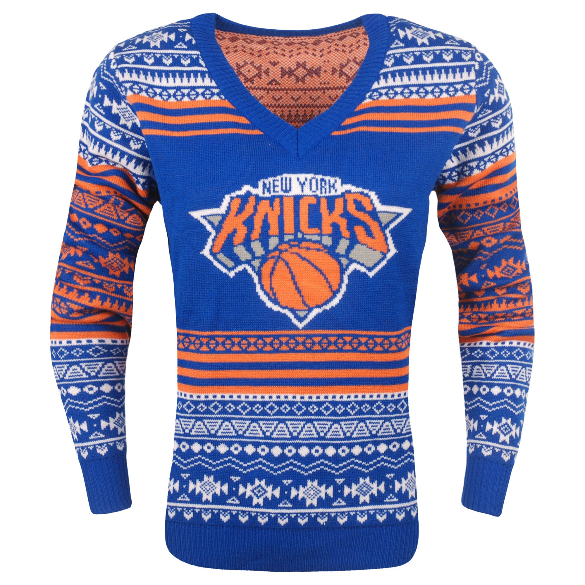 New York Knicks Women's Big Logo Aztec V-Neck Sweater - Blue