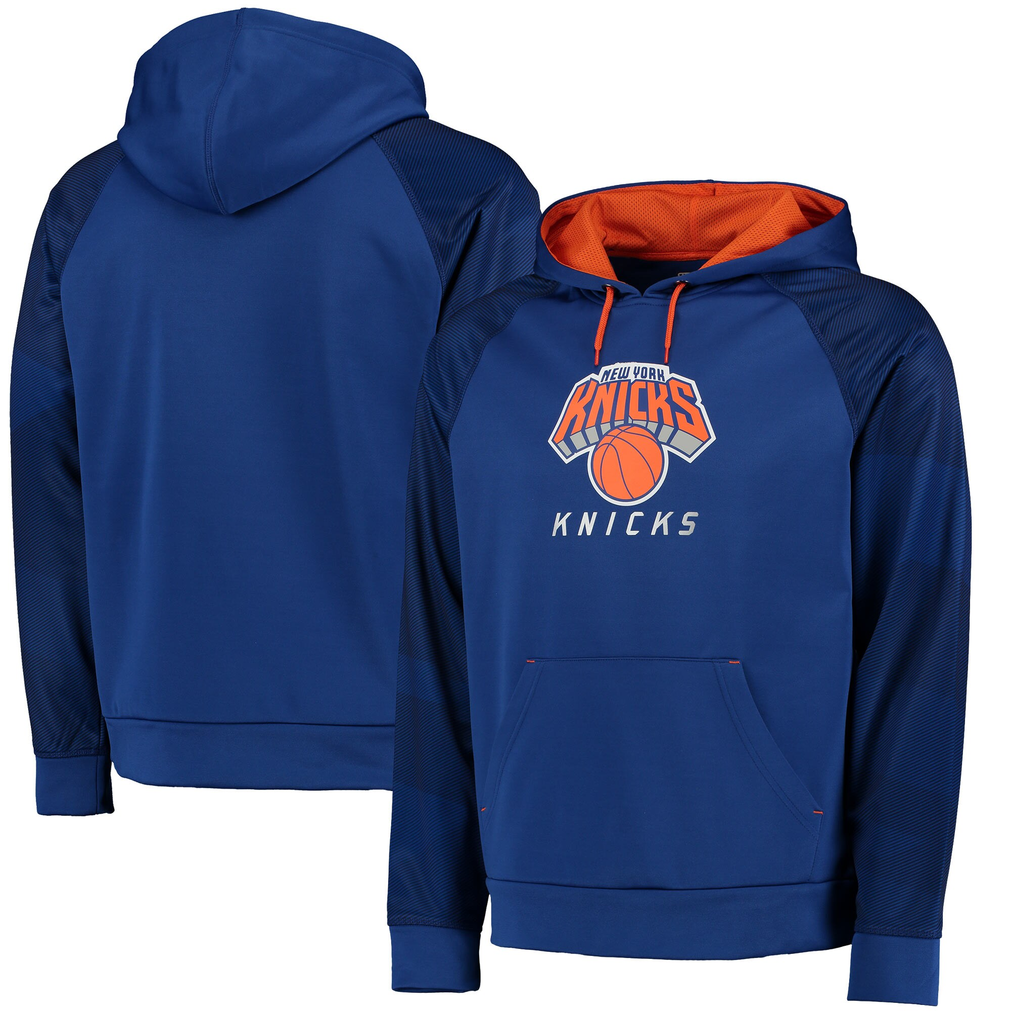 New York Knicks Majestic Armor II Therma Base Raglan Pullover Hoodie - Royal