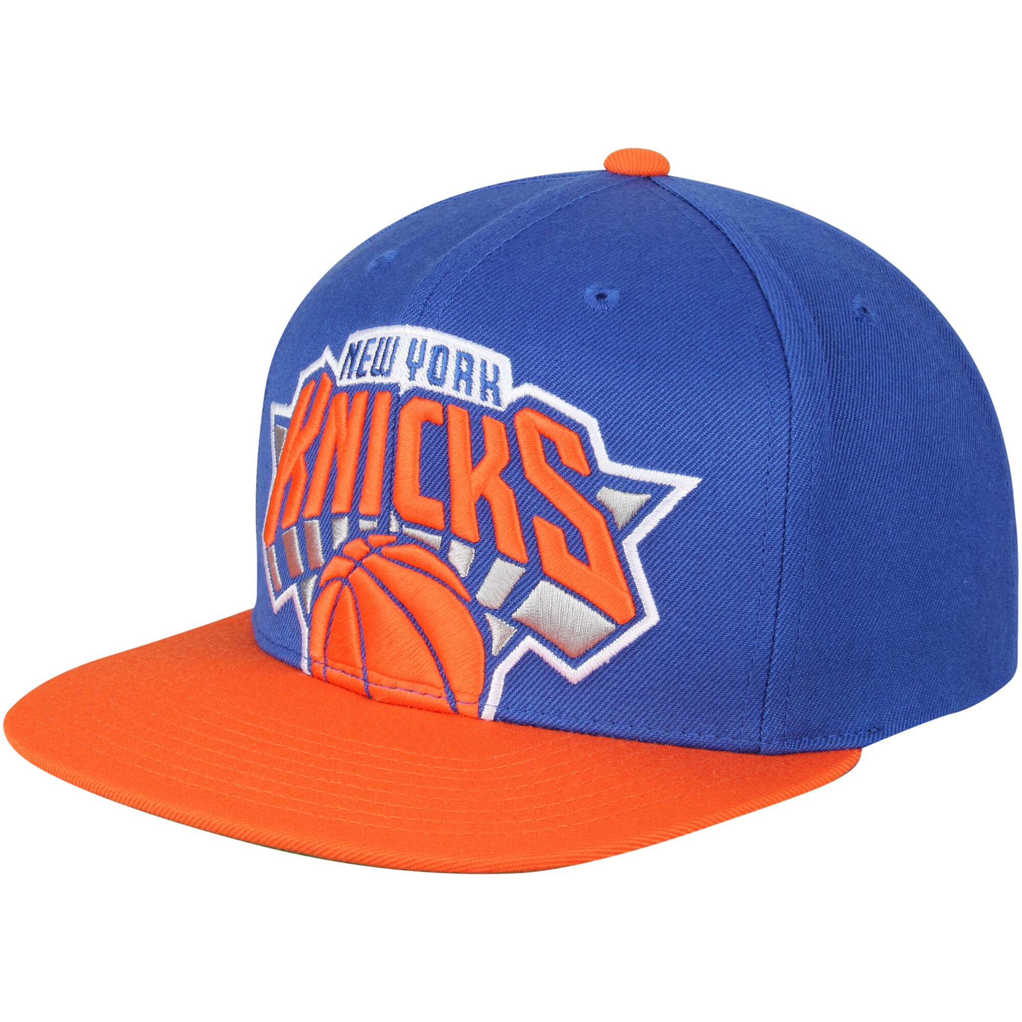 New York Knicks Mitchell & Ness Cropped XL Logo Adjustable Snapback Hat - Royal/Orange