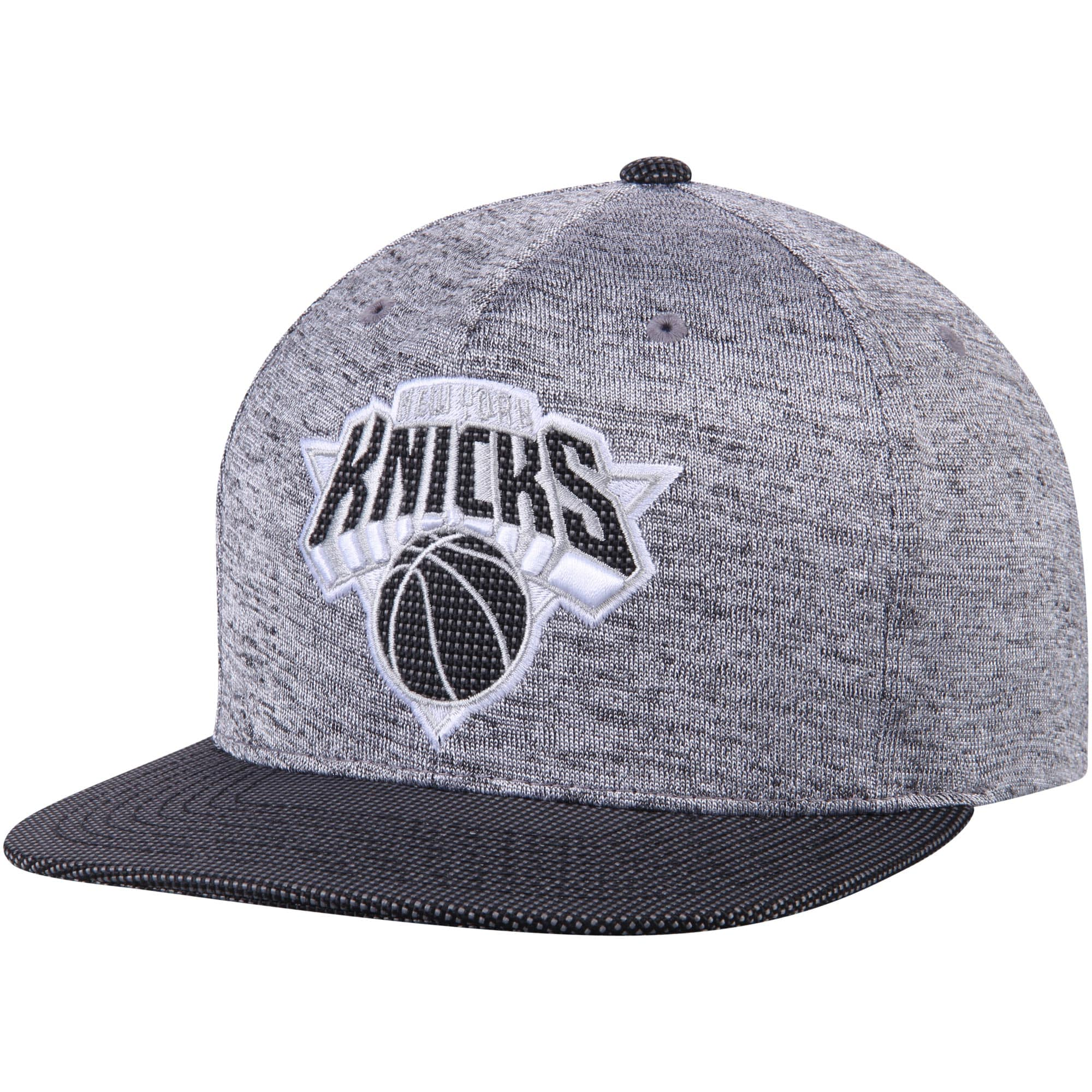 New York Knicks Mitchell & Ness Space Knit Snapback Adjustable Hat - Heathered Gray/Black