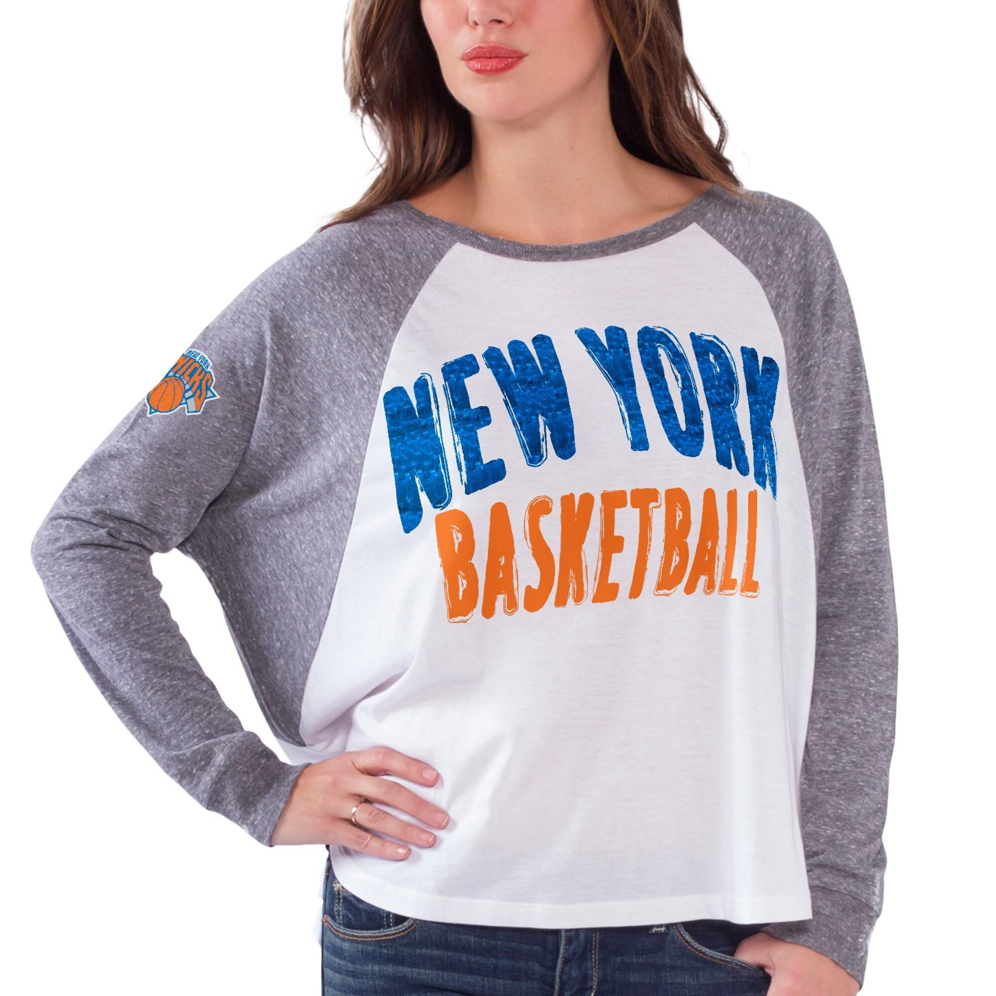 New York Knicks Women's Triple A Long Sleeve T-Shirt - White/Gray