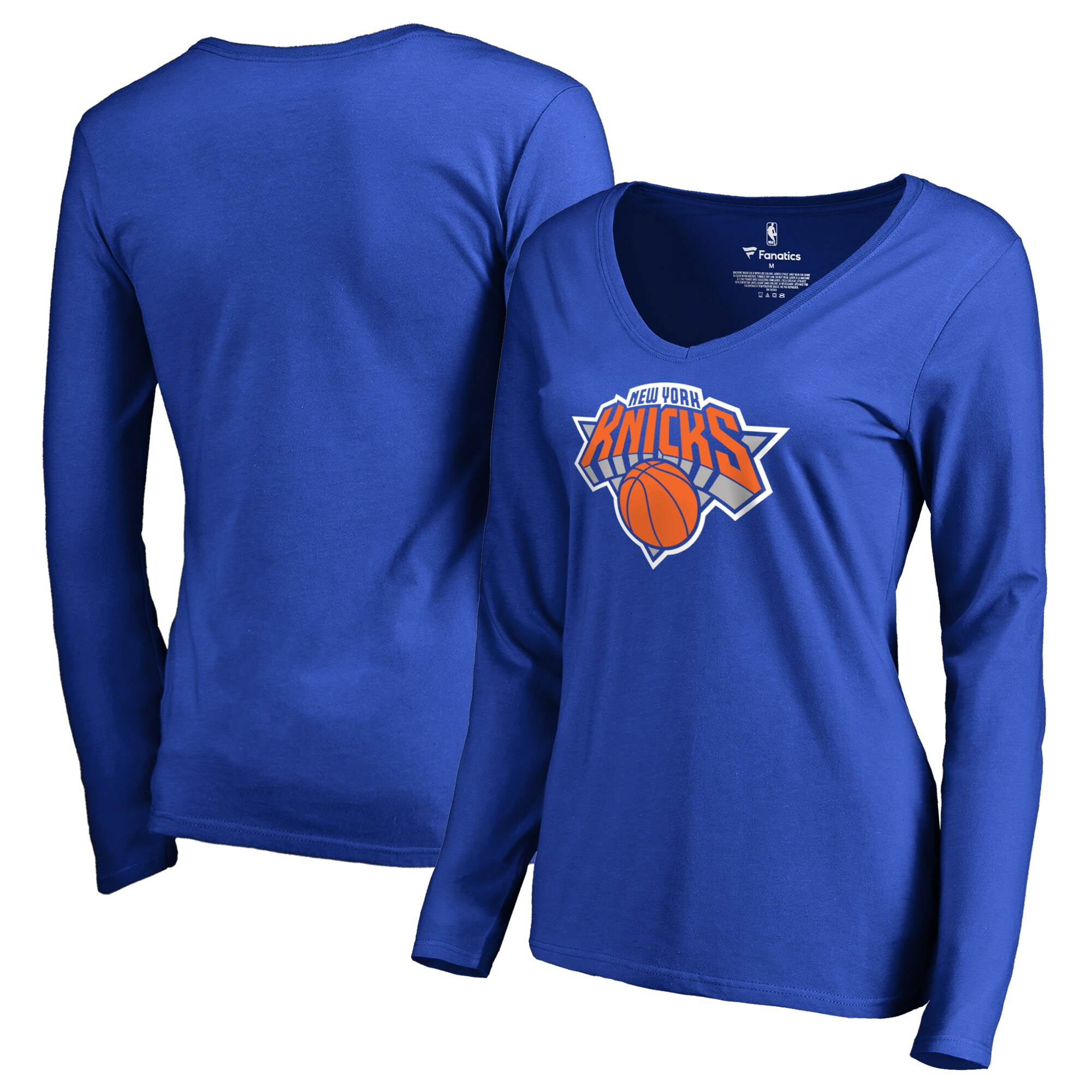 New York Knicks Fanatics Branded Women's Primary Logo V-Neck Long Sleeve T-Shirt - Royal