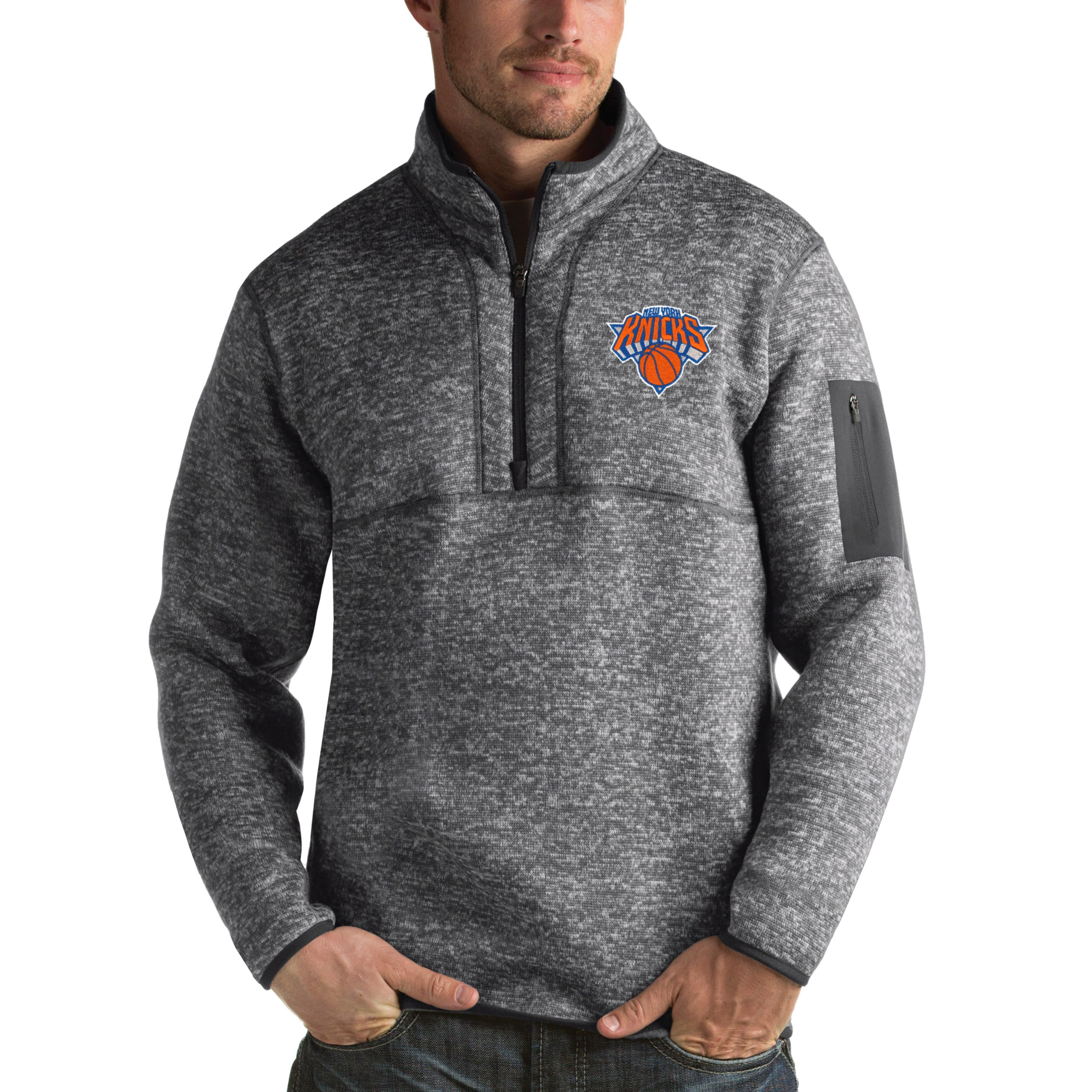New York Knicks Antigua Fortune 1/2-Zip Pullover Jacket - Heathered Black